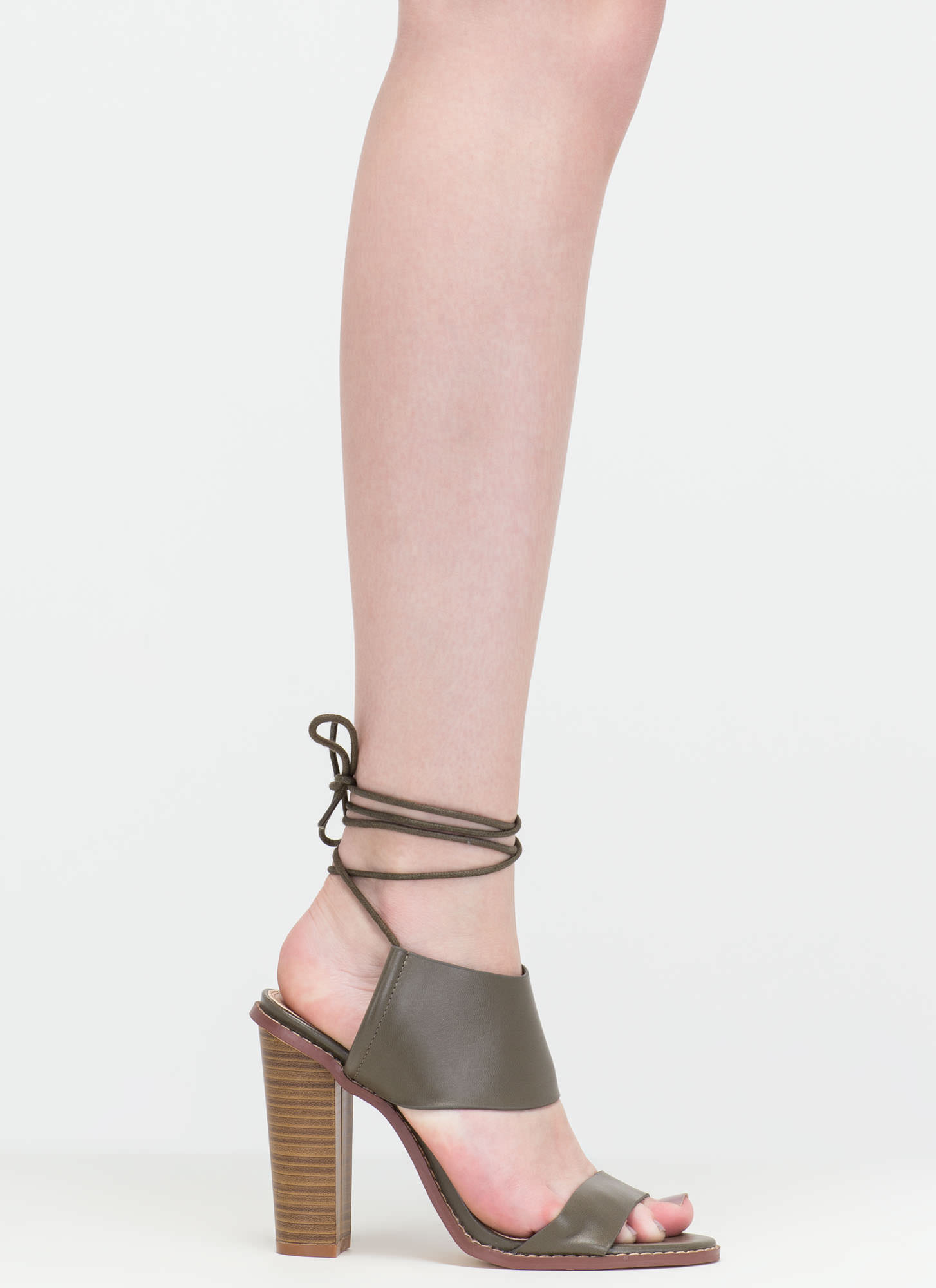 New Junction Faux Leather Chunky Heels OLIVE