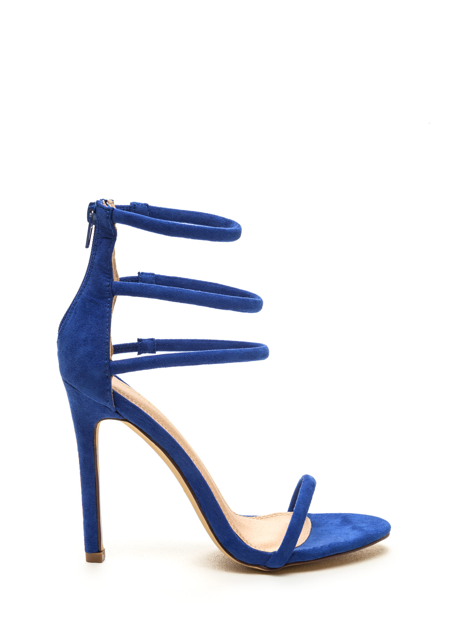 Navy Blue Strappy High Heel Sandals - Is Heel