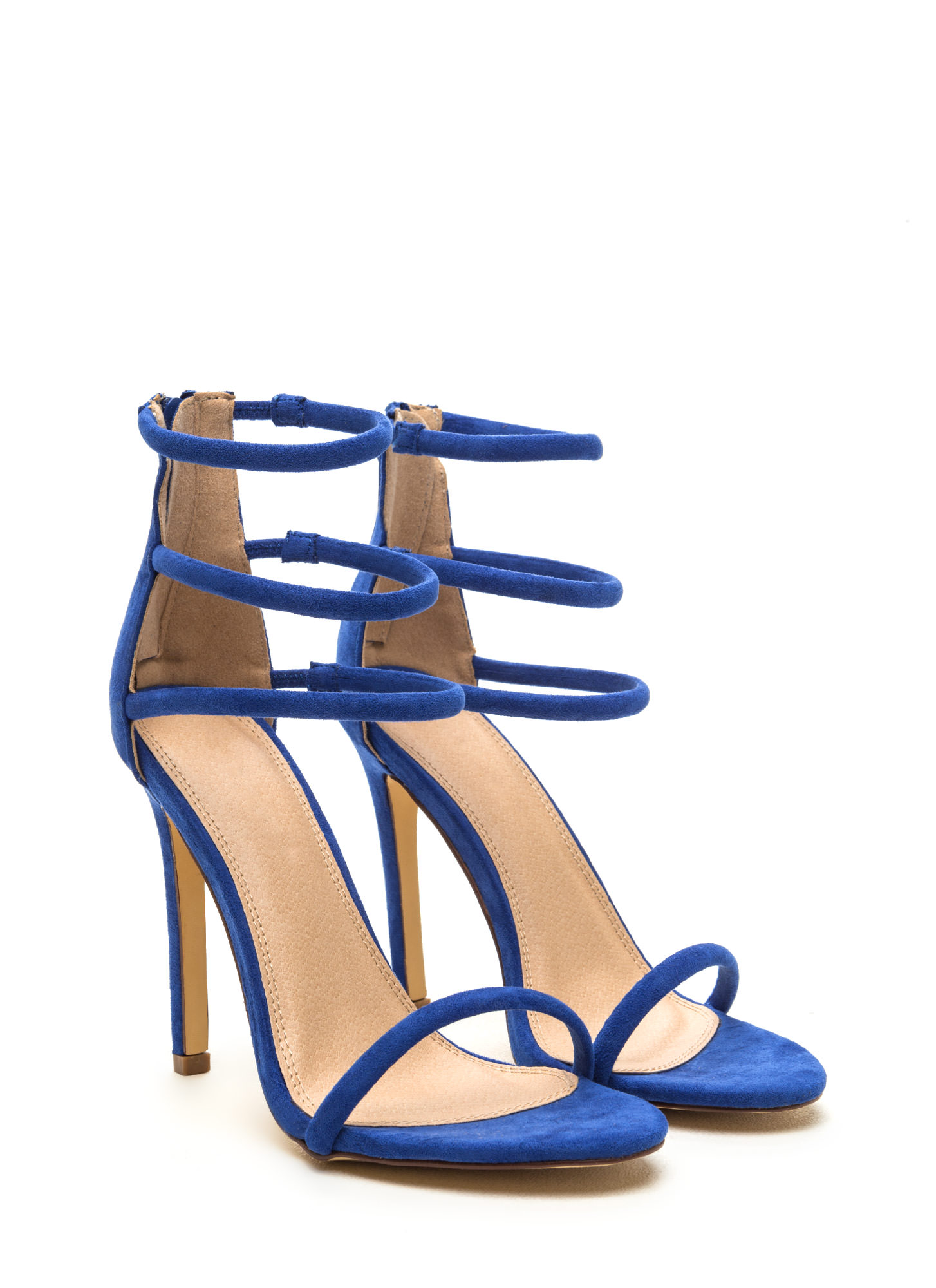 Total Triple Threat Strappy Heels BLUE
