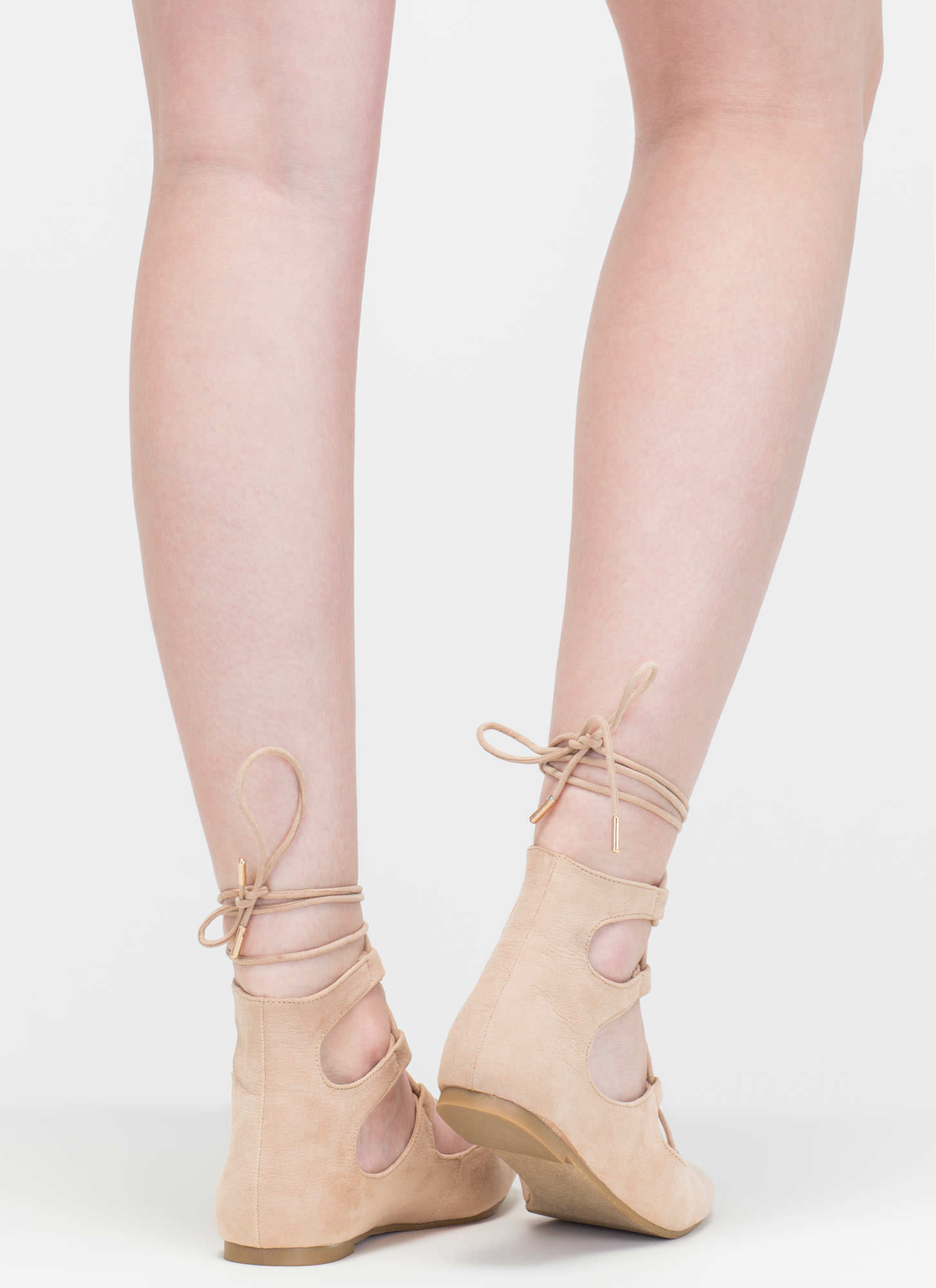 Style Royale Faux Suede Lace-Up Flats NUDE