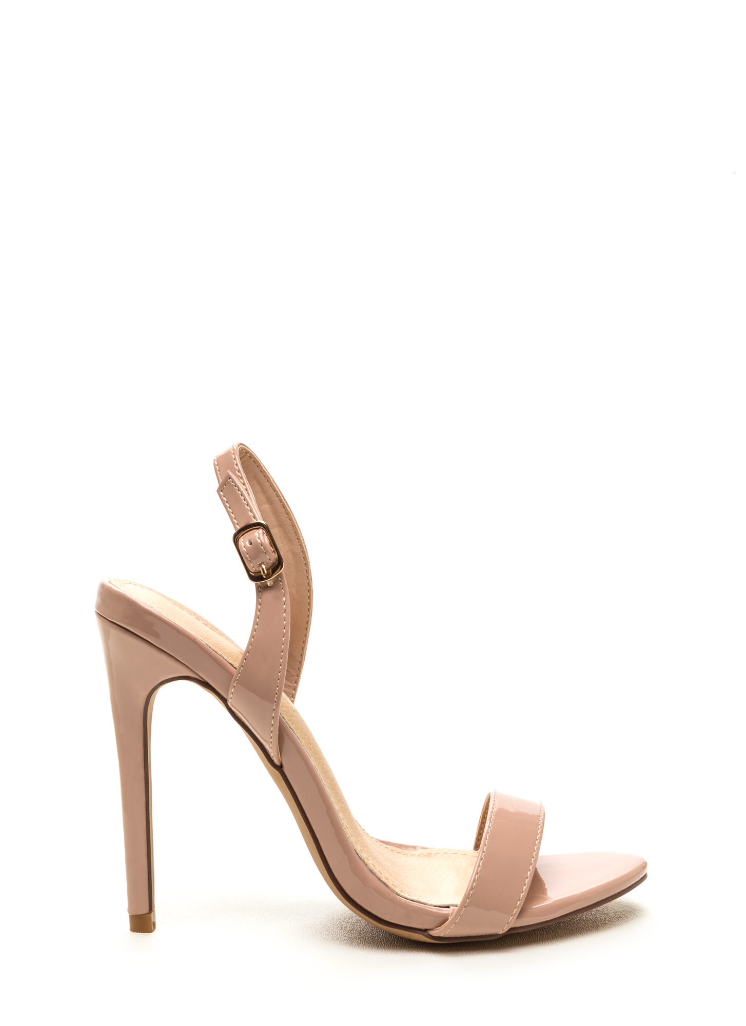 Slinging It Back Faux Patent Heels NUDE