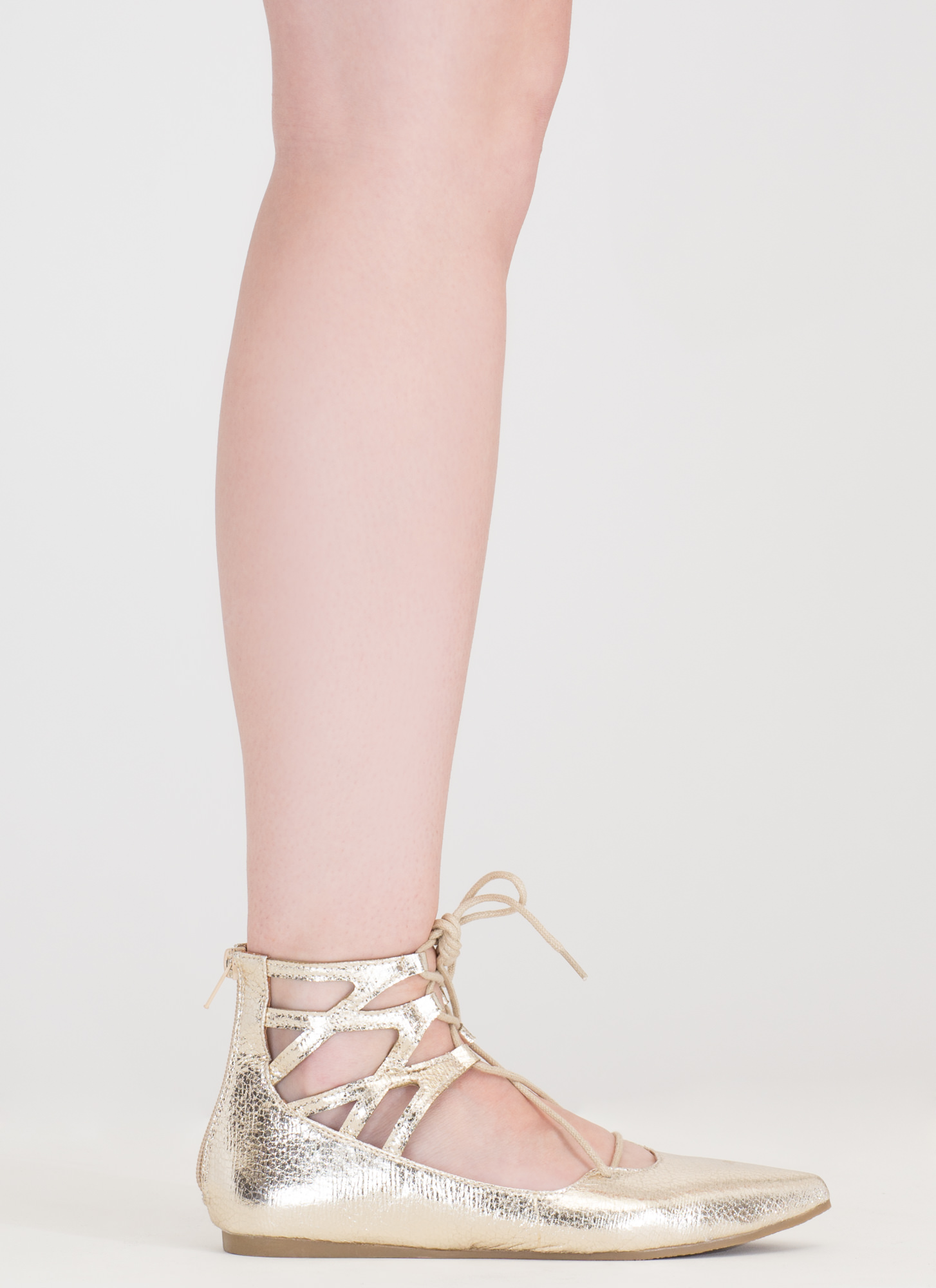 Point It Out Lace-Up Metallic Flats GOLD