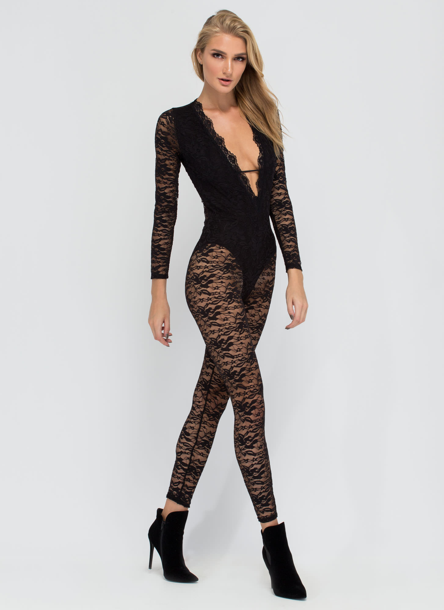 Gimme Some Lace Plunging Jumpsuit BLACK