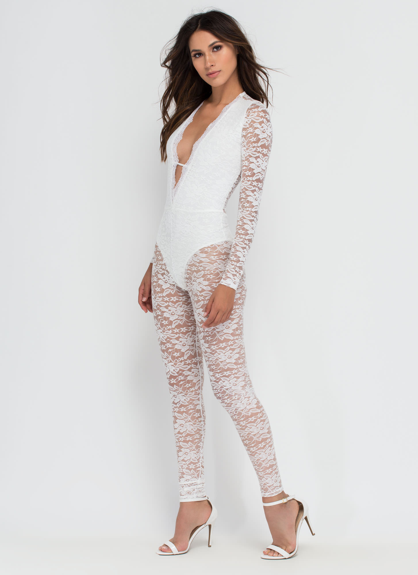 Gimme Some Lace Plunging Jumpsuit WHITE