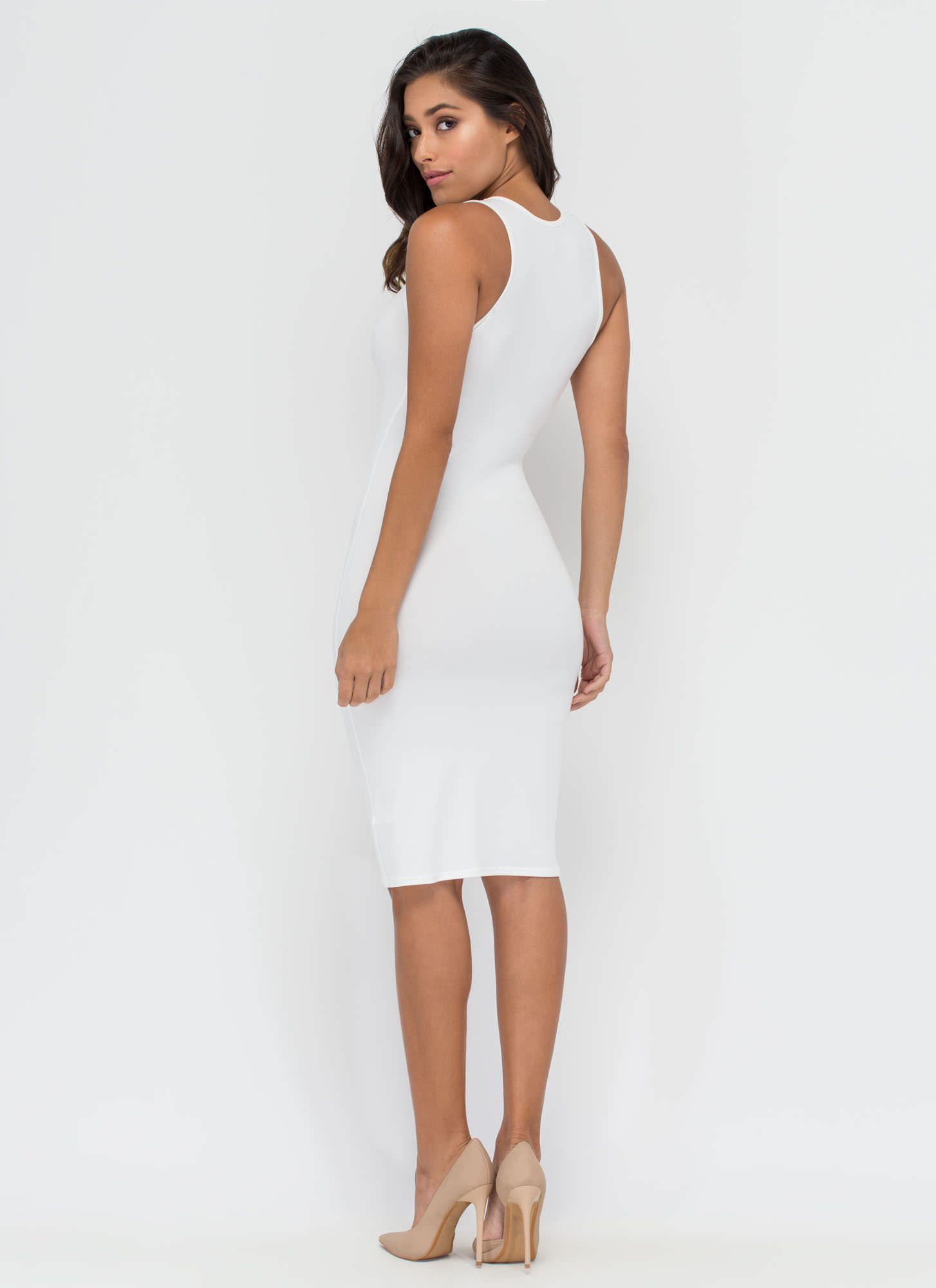 Keeping It Simple Tank Midi Dress IVORY