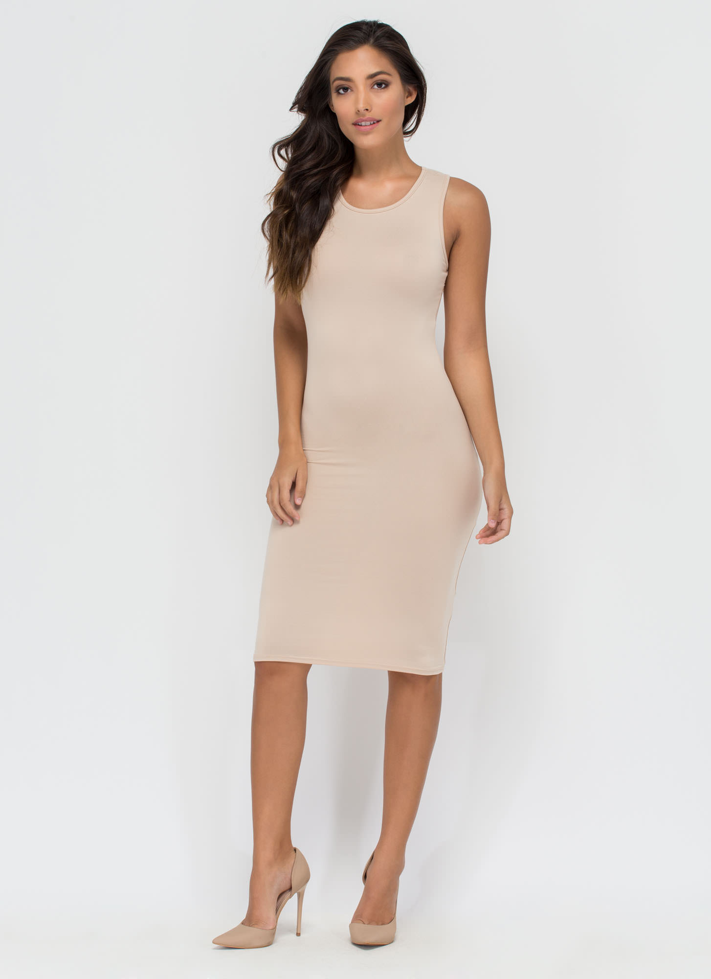 Keeping It Simple Tank Midi Dress KHAKI
