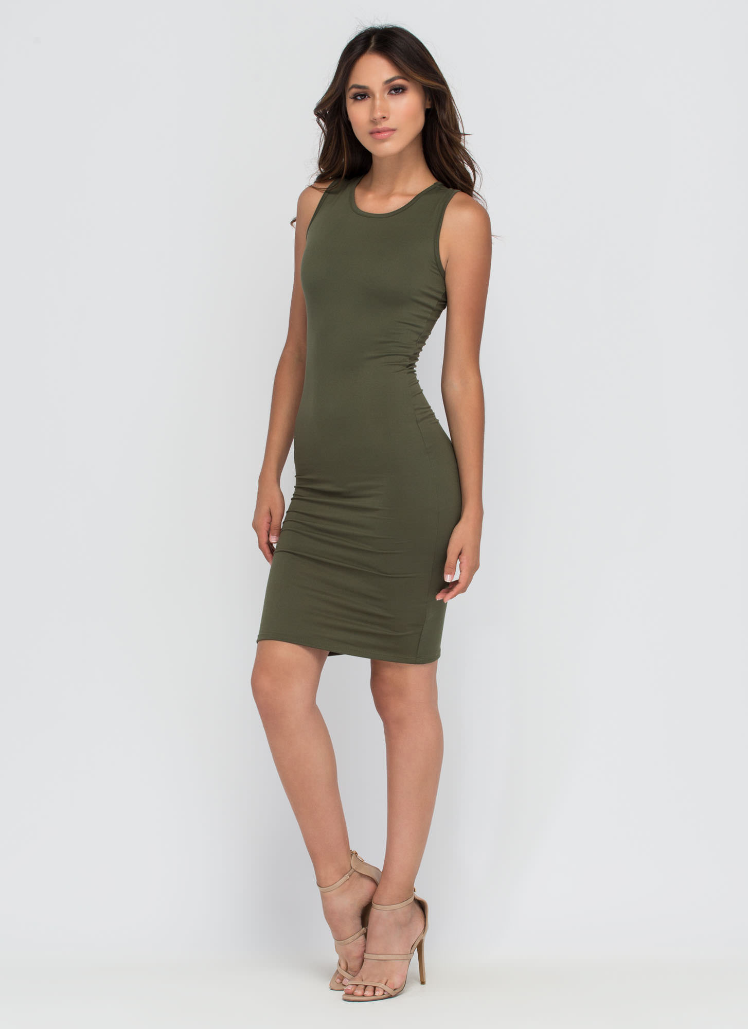 Keeping It Simple Tank Midi Dress OLIVE
