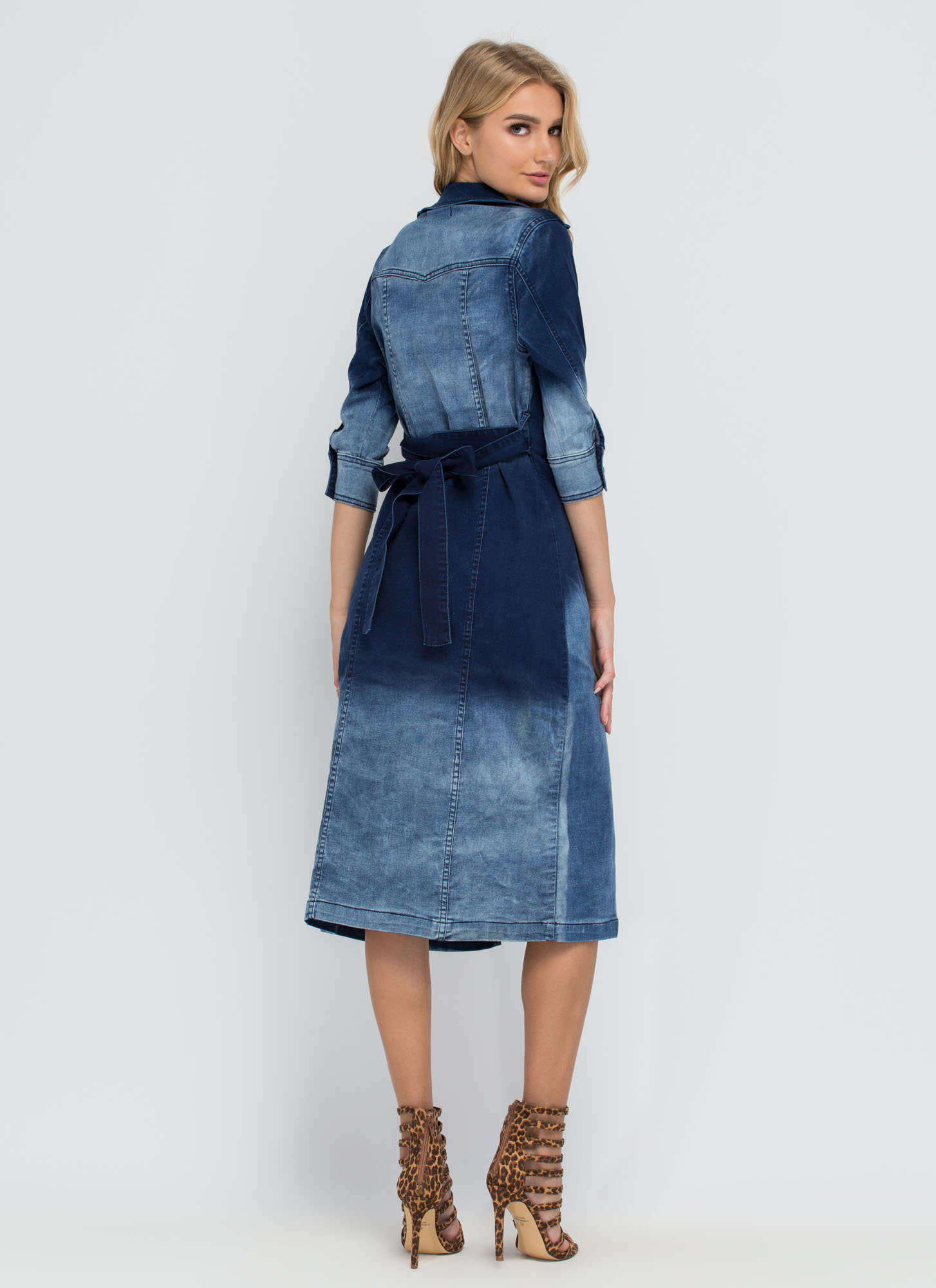 Decked Out In Denim Trench Coat BLUE