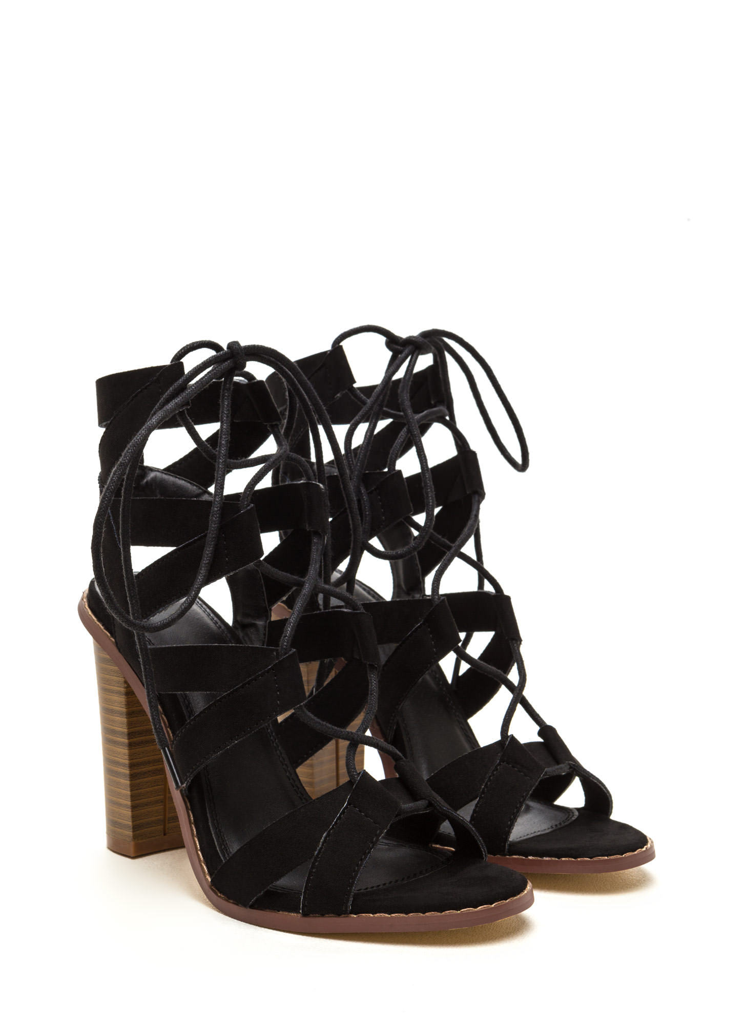 Born To V Lace-Up Heels BLACK