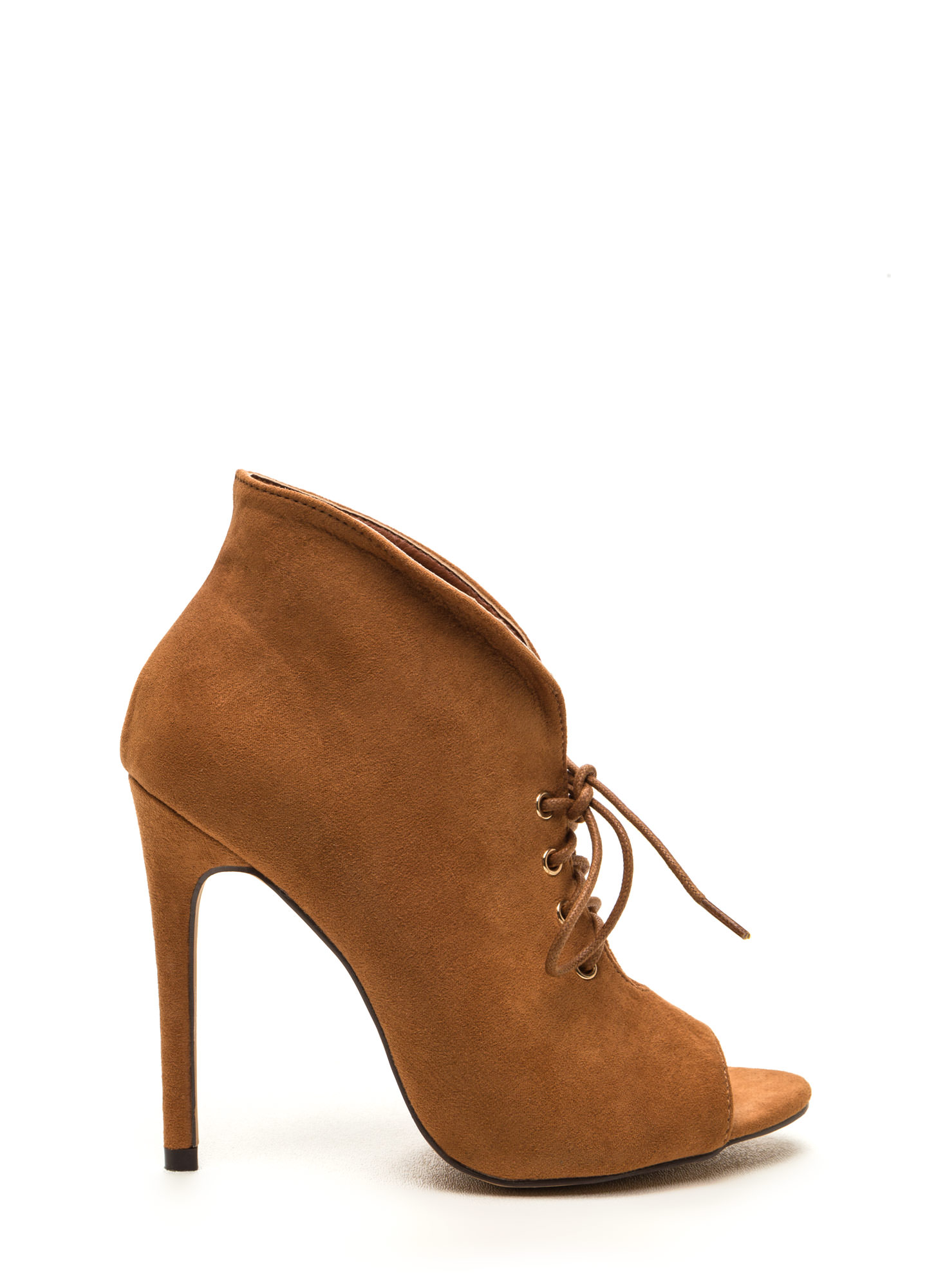 Take A Plunge Lace-Up Faux Suede Booties TAN