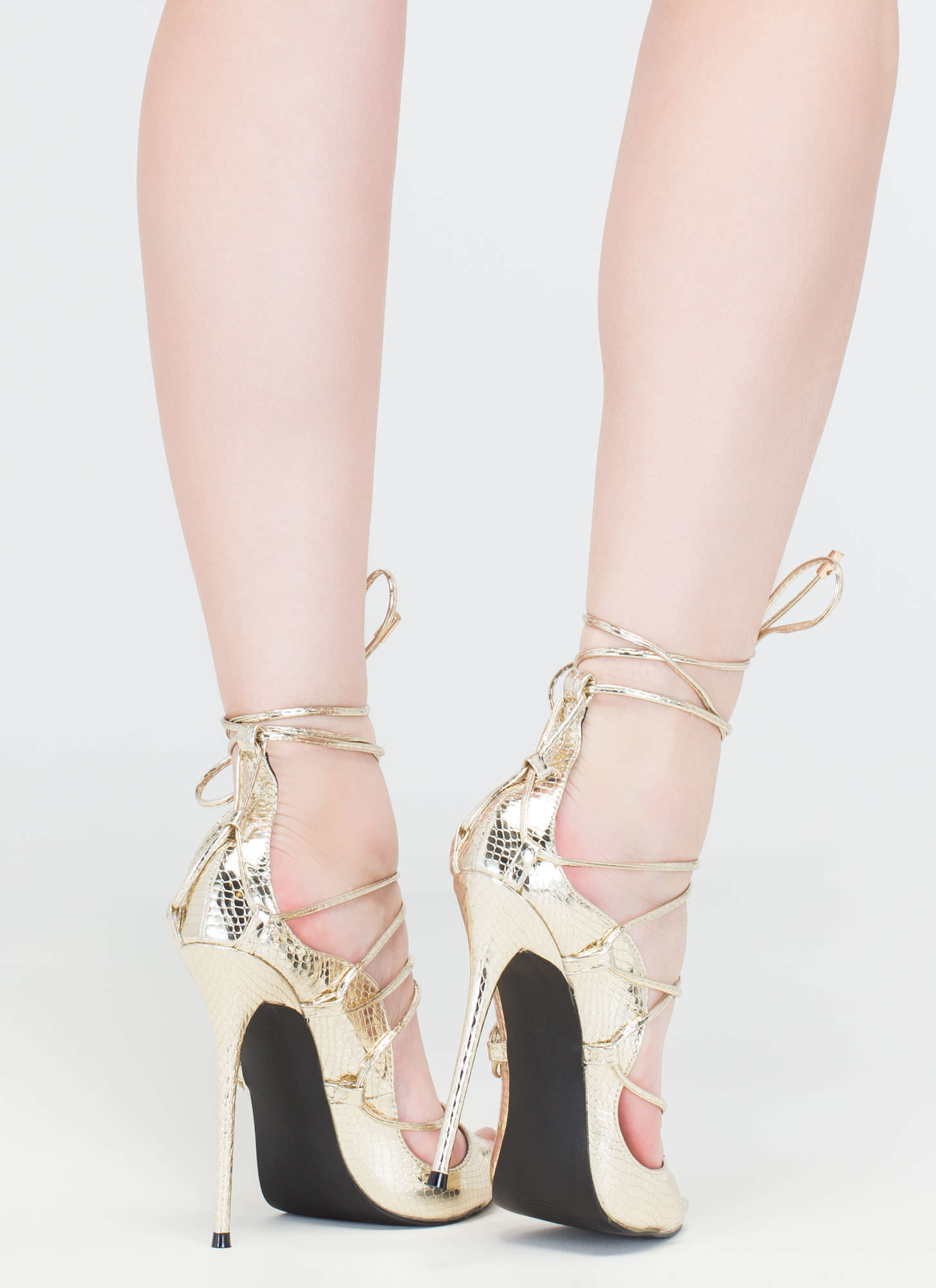 Shopping Spree Scaled Lace-Up Heels GOLD
