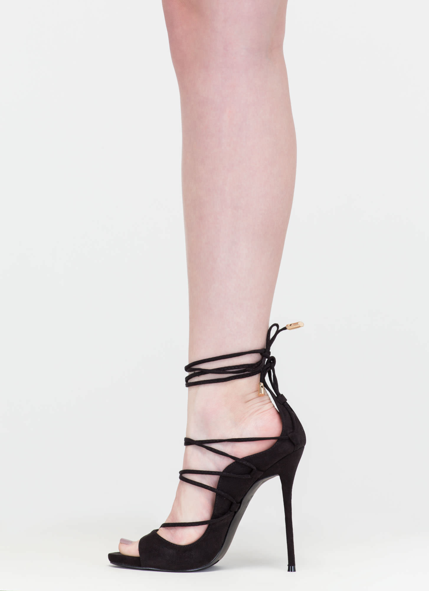 Shopping Spree Faux Suede Lace-Up Heels BLACK