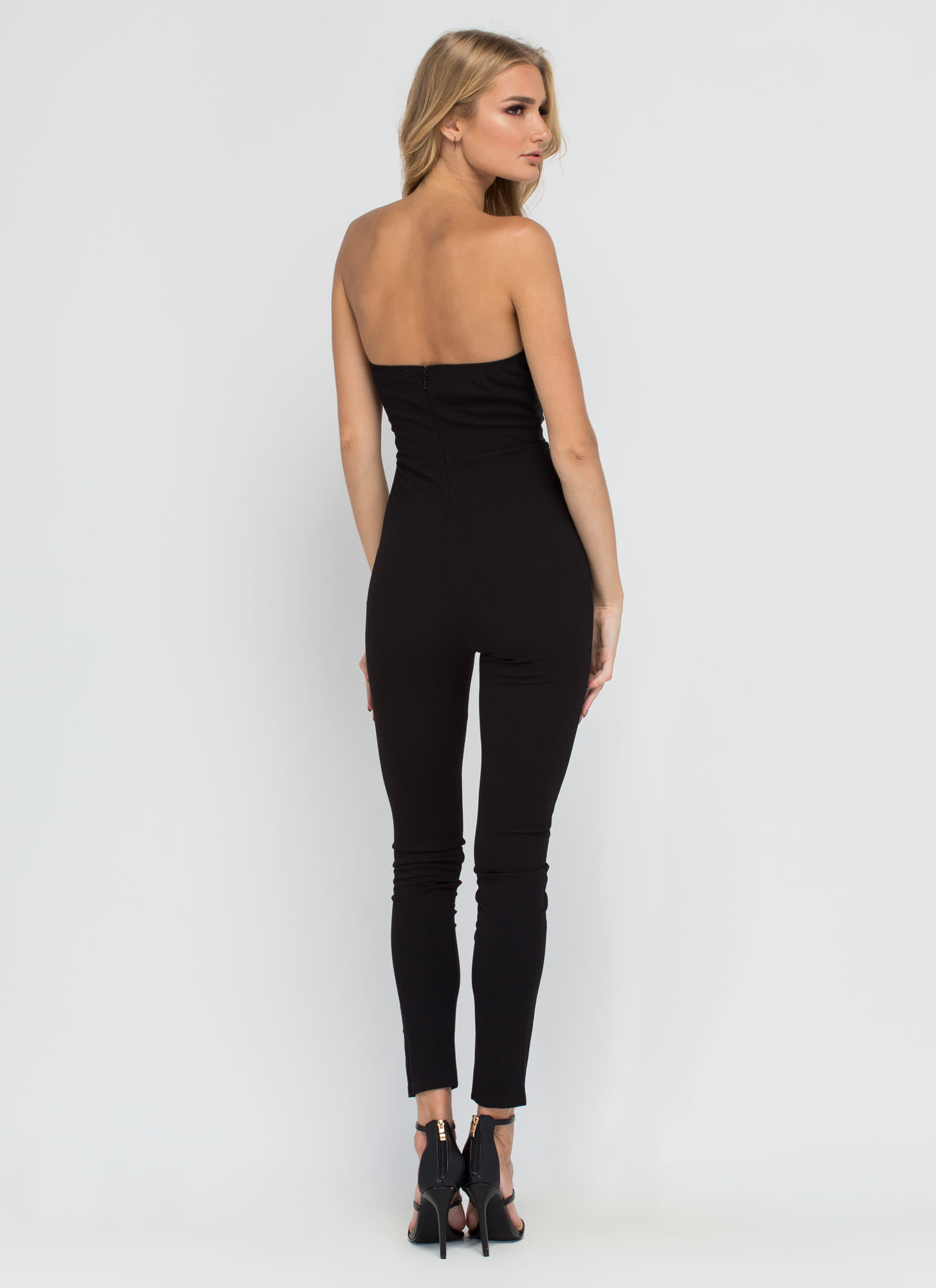 Take A Bow Textured Jumpsuit  BLACK