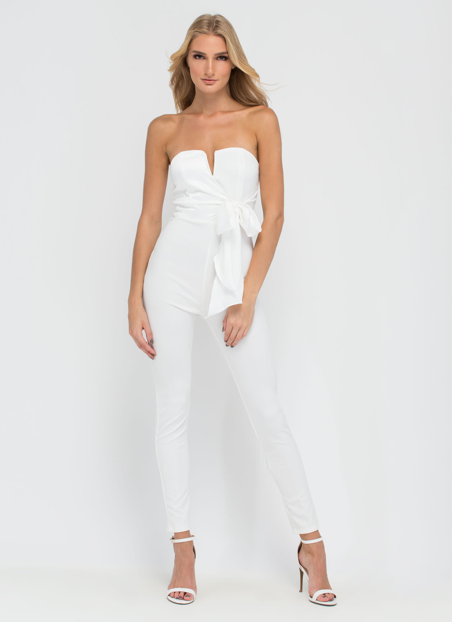 Take A Bow Textured Jumpsuit  WHITE