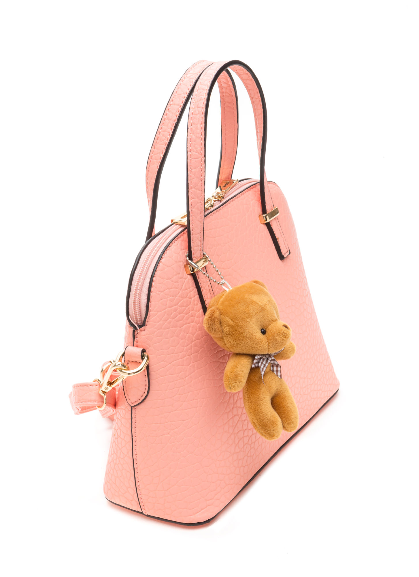 Bear-y Cute Faux Leather Dome Satchel PINK