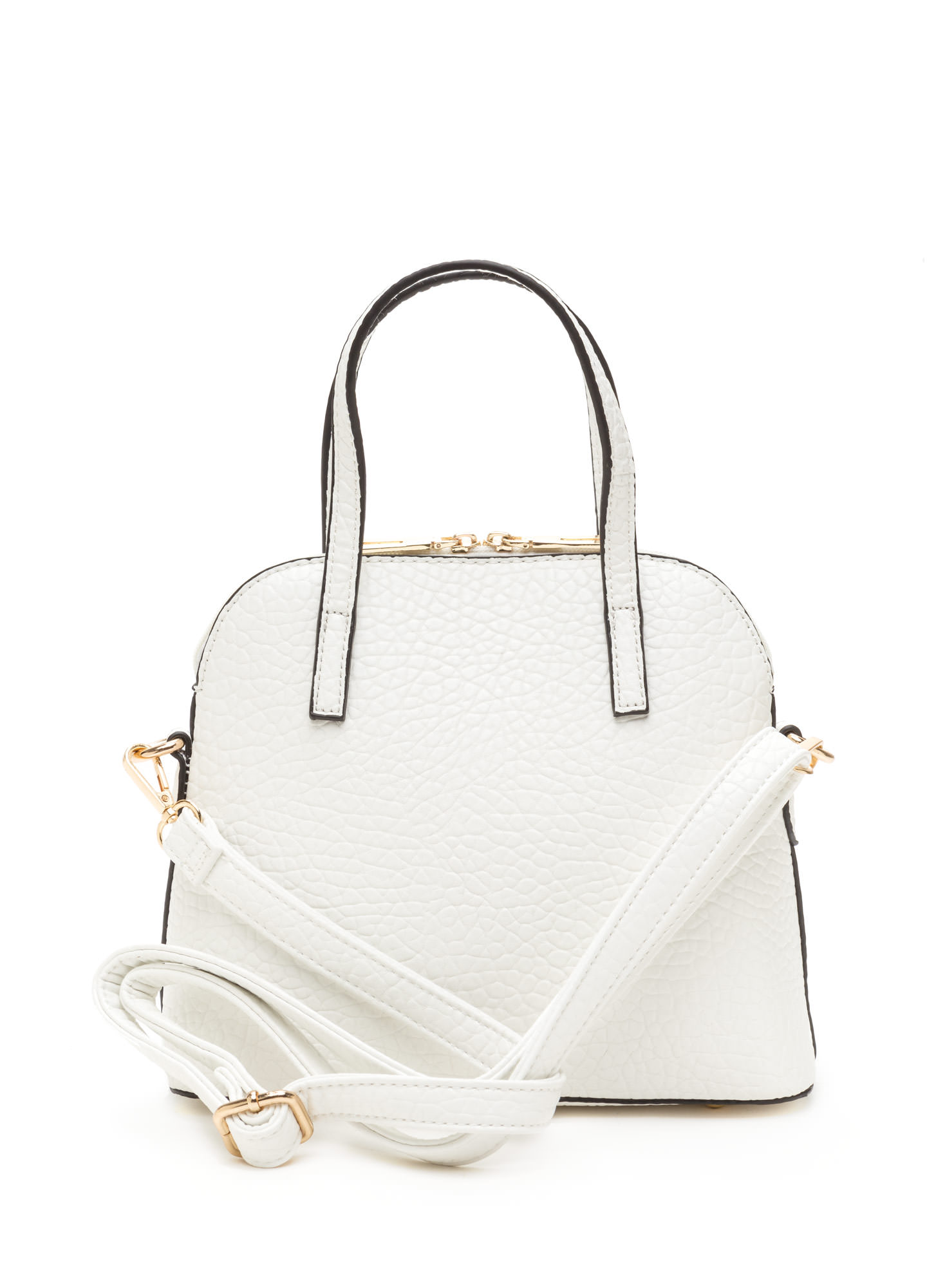 Bear-y Cute Faux Leather Dome Satchel WHITE