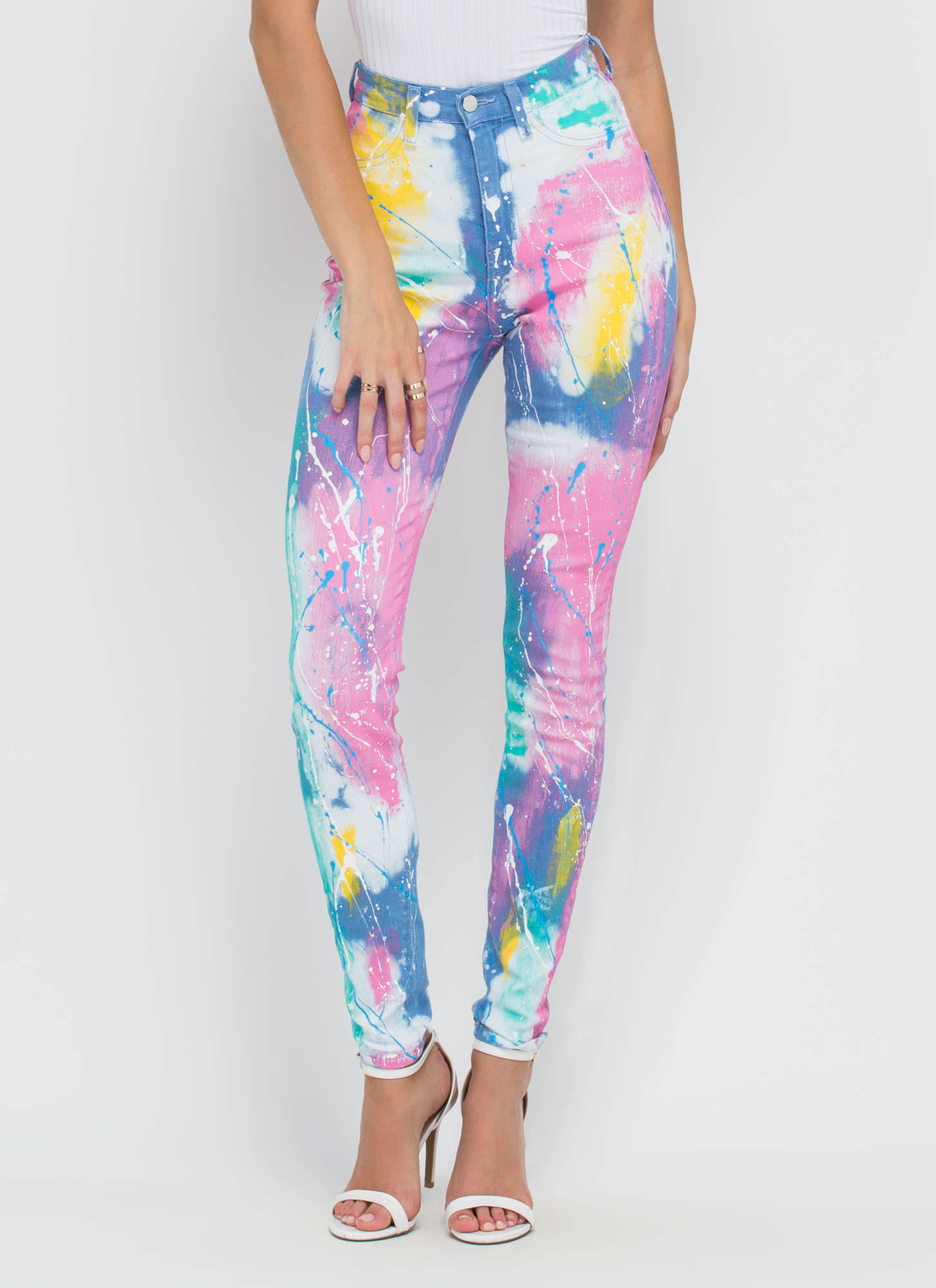 Creative Color Paint Splatter Skinny Jeans MULTI