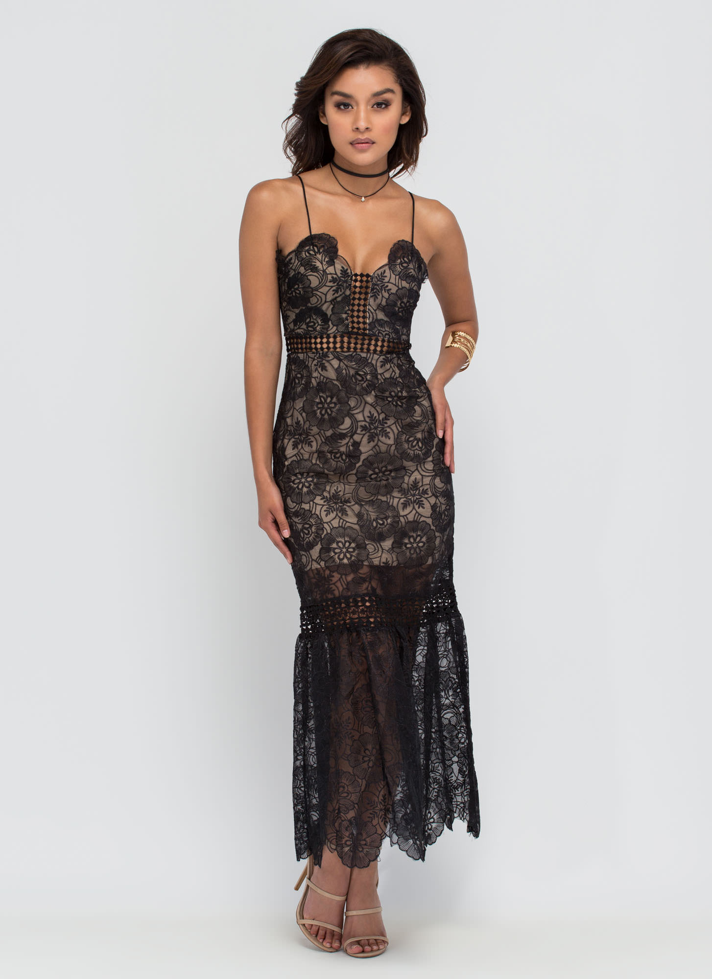 Vintage Glamour Lace Maxi Dress BLACK