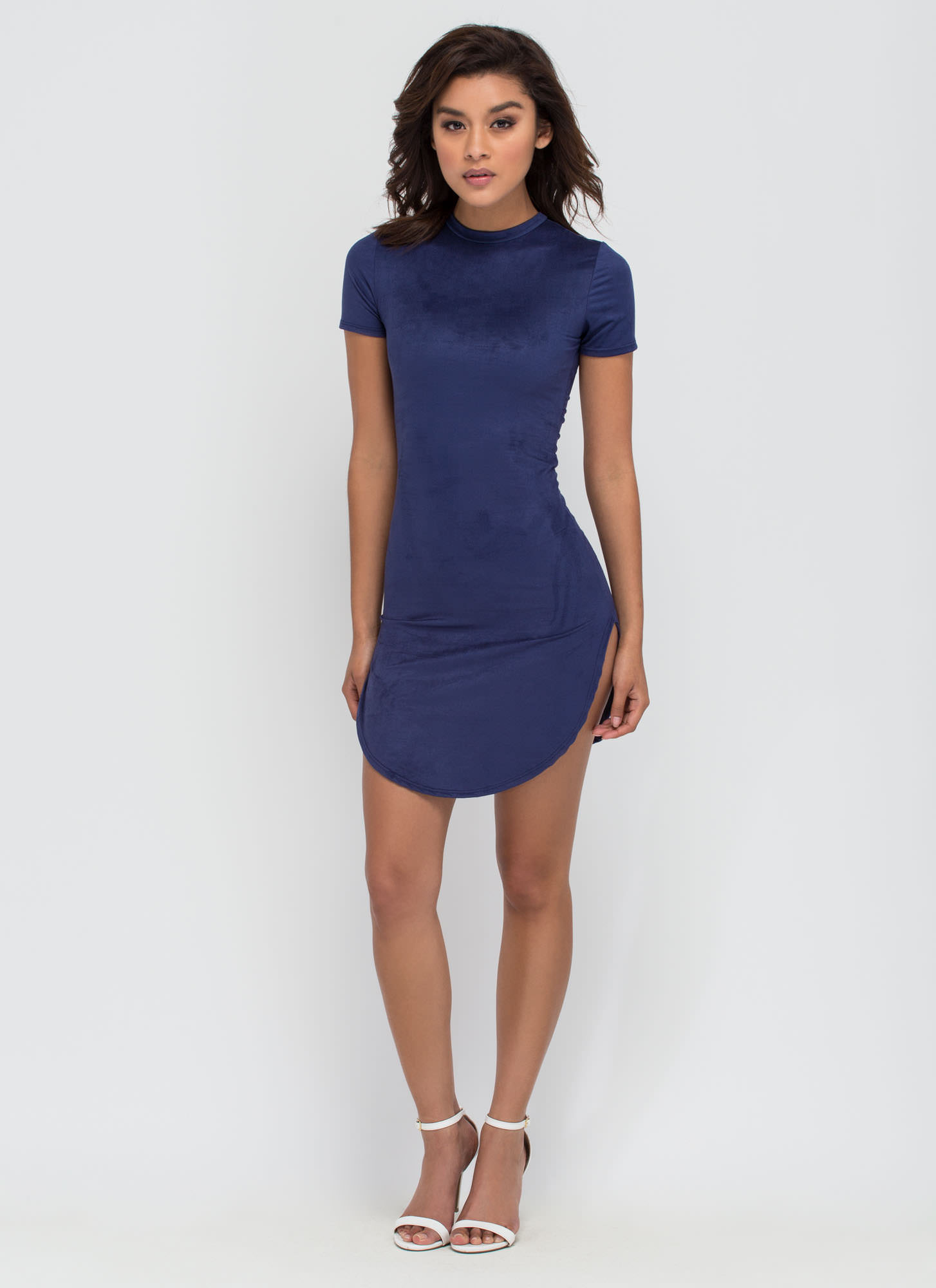 Round The Clock Faux Suede Dress NAVY