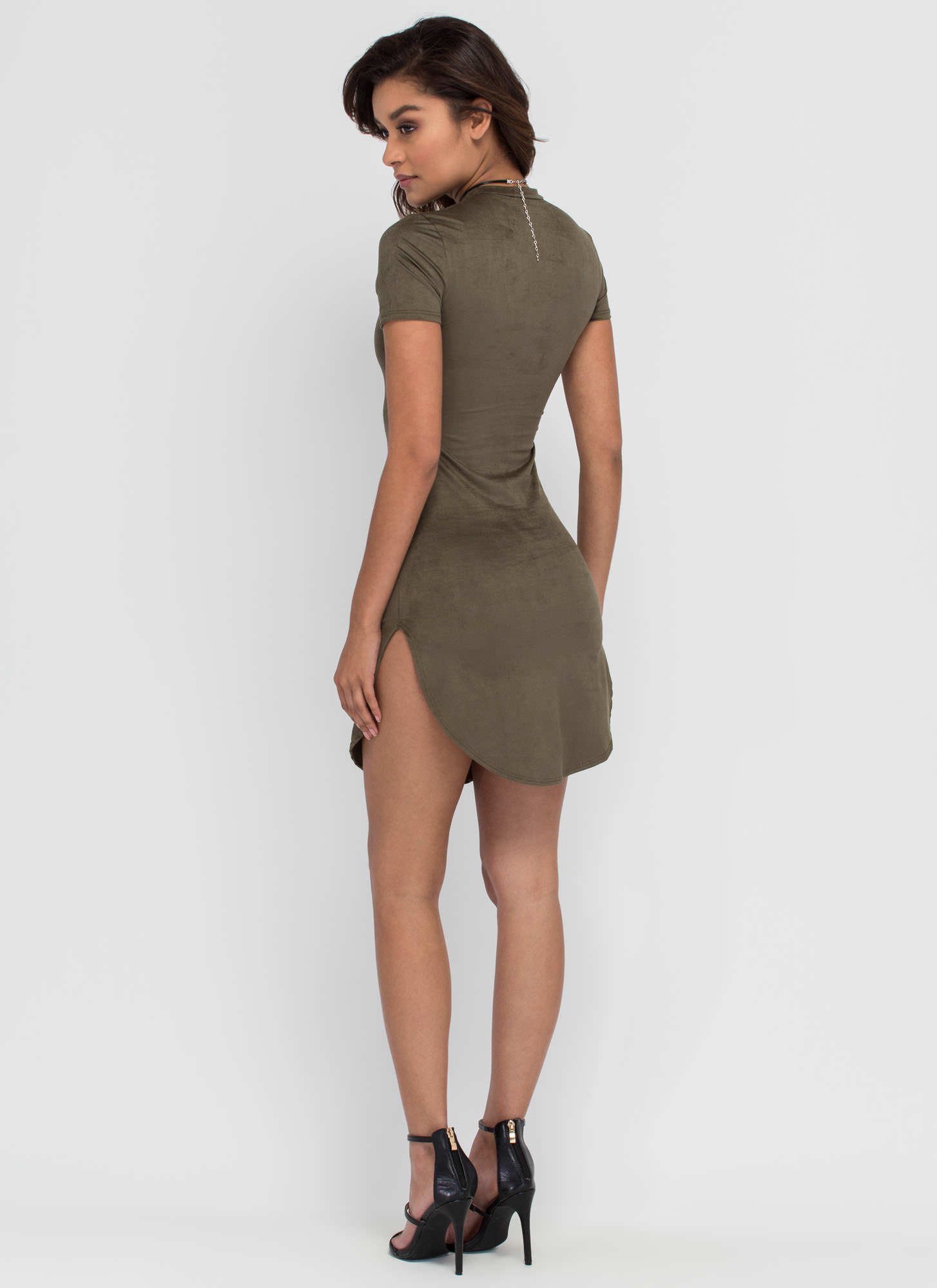 Round The Clock Faux Suede Dress OLIVE
