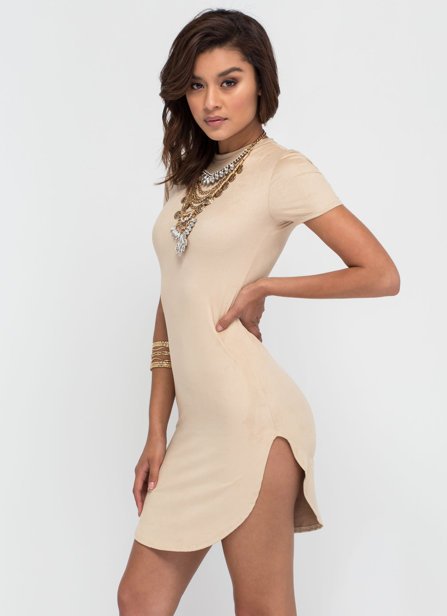 Round The Clock Faux Suede Dress TAUPE