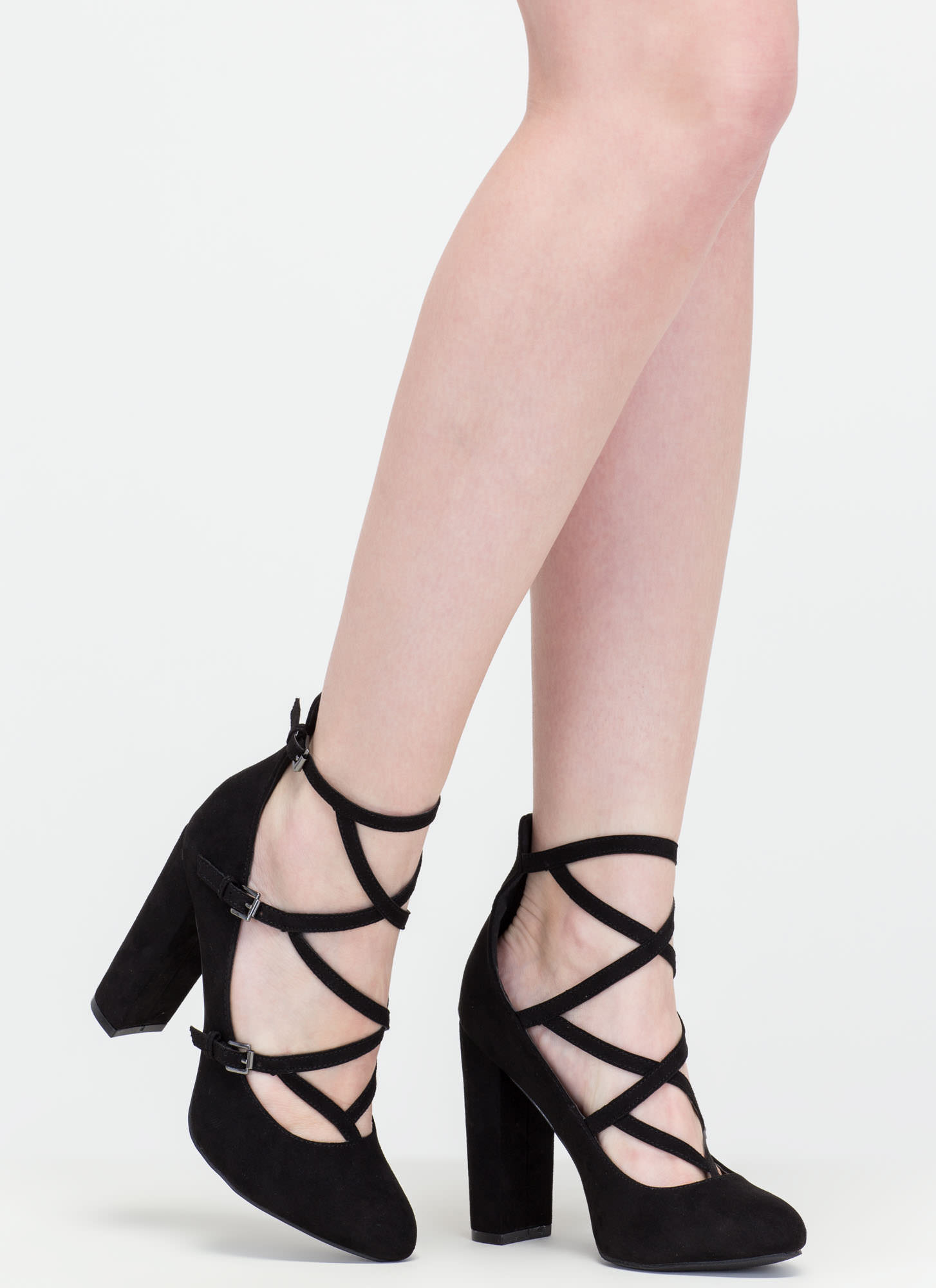 Modern Sophisticate Strappy Pumps BLACK