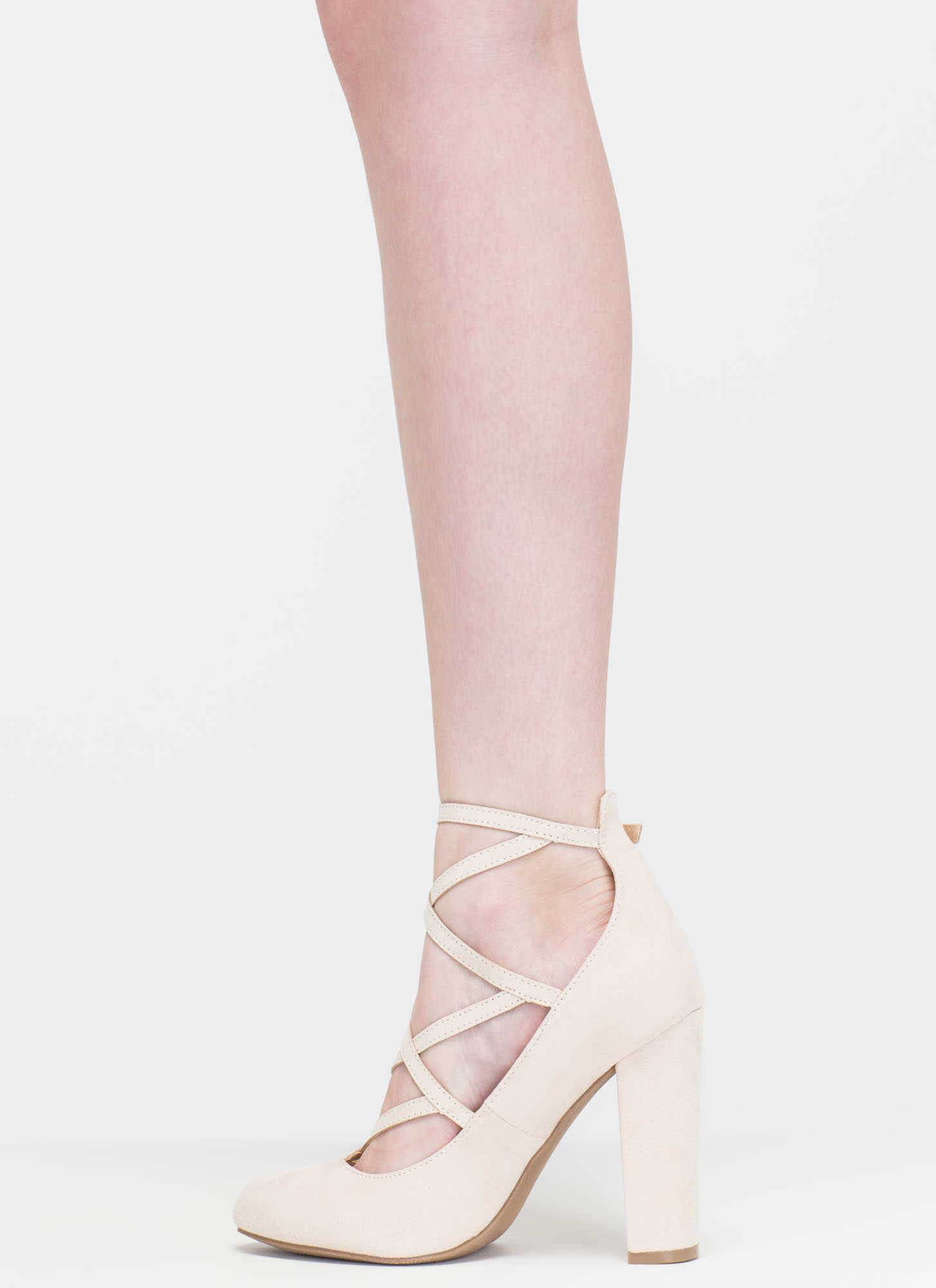 Modern Sophisticate Strappy Pumps NATURAL