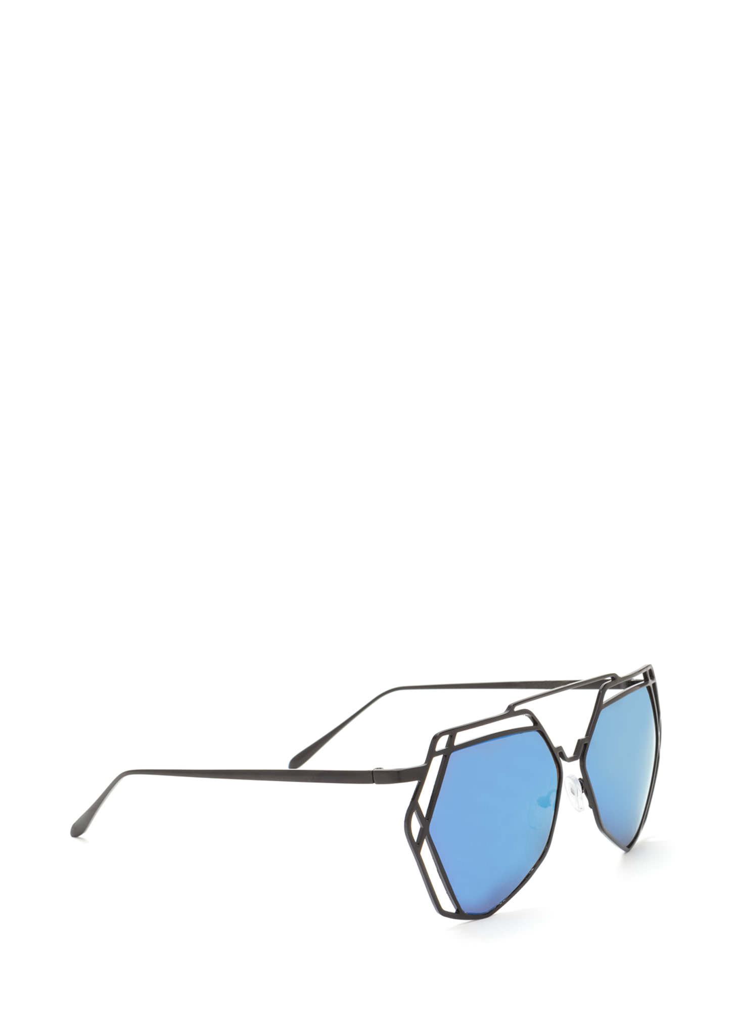 Work A New Angle Cut-Out Sunglasses BLUE