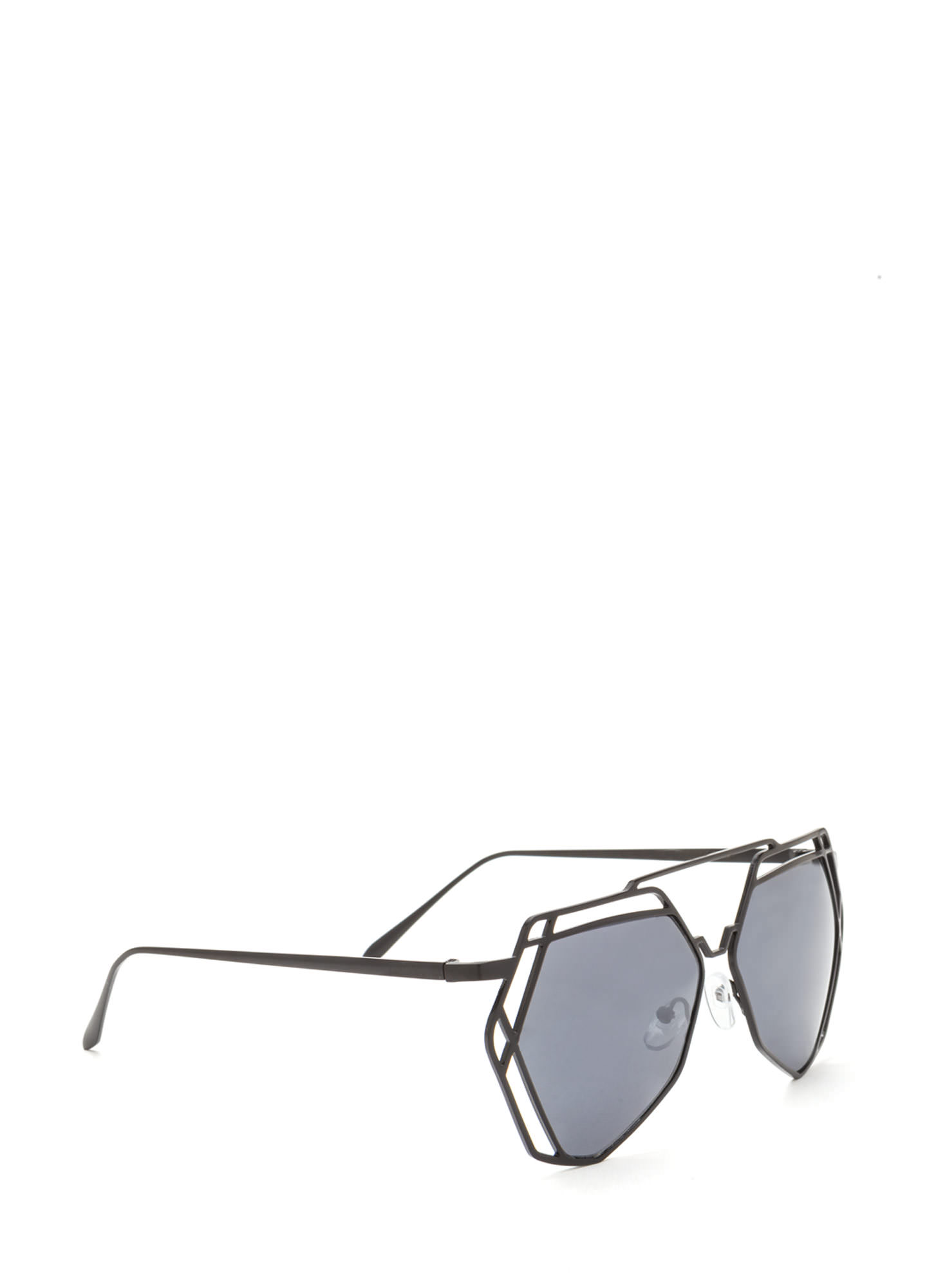 Work A New Angle Cut-Out Sunglasses CHARCOAL
