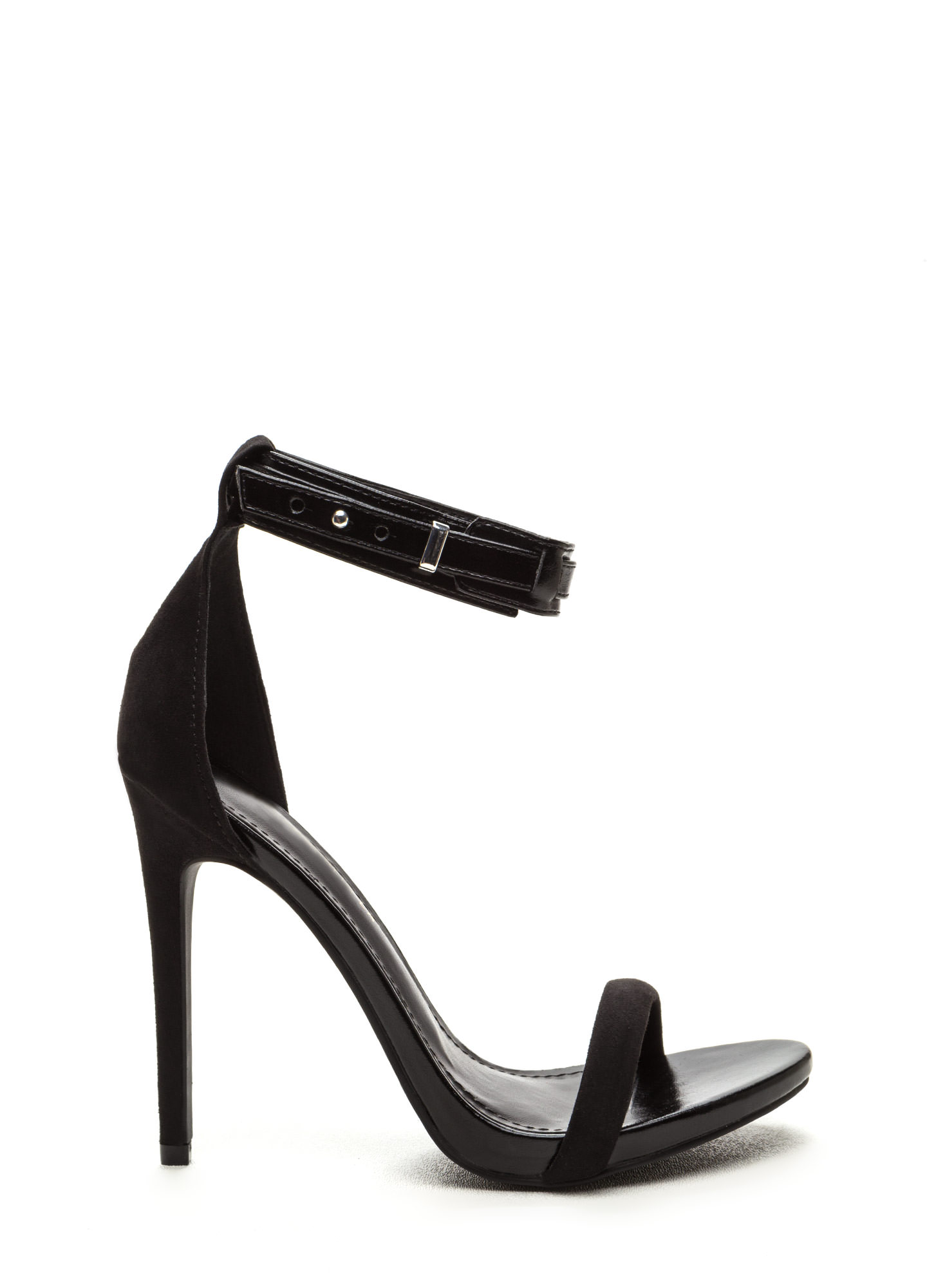Strap Battle Mixed Stiletto Heels BLACK