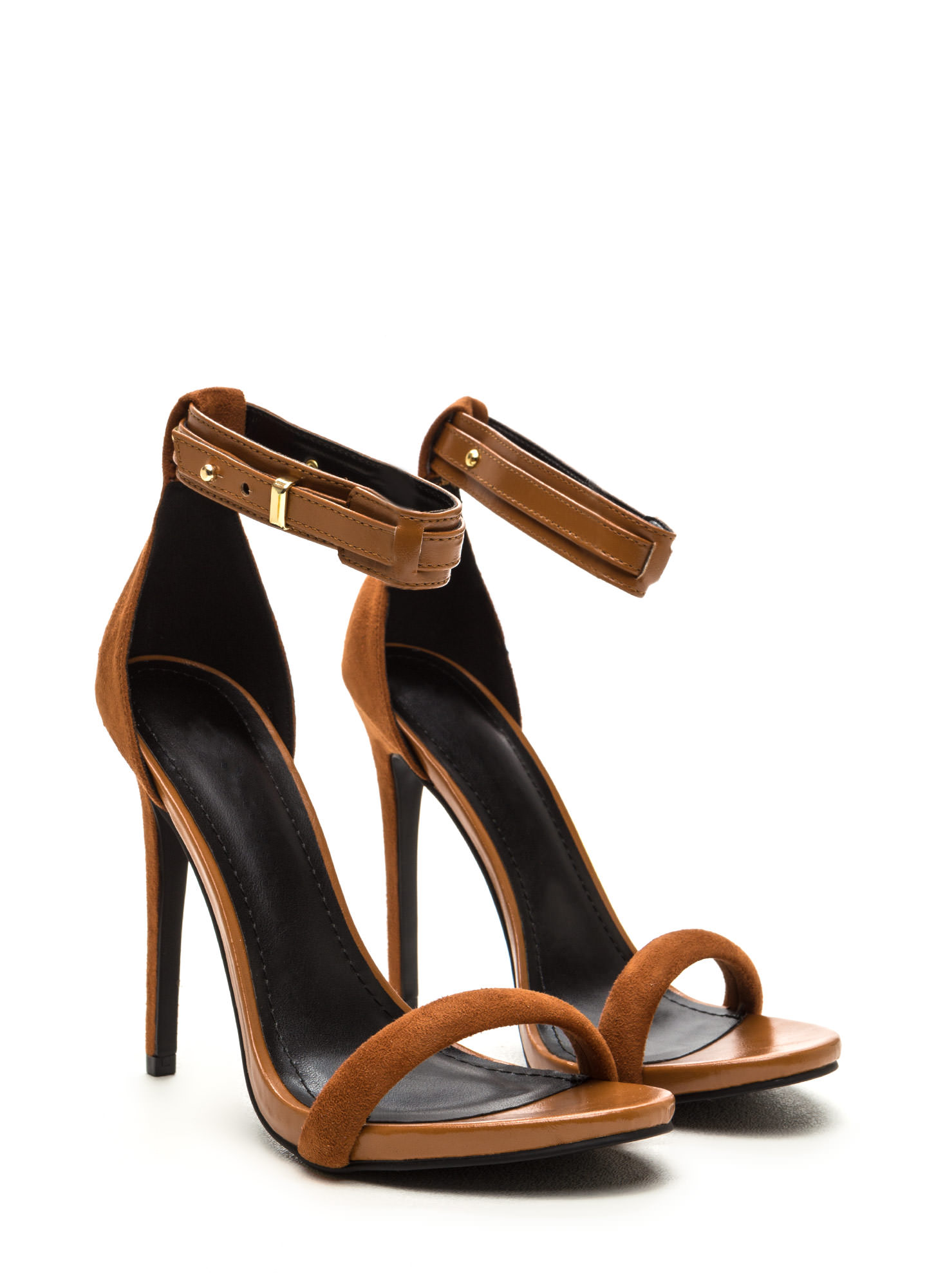 Strap Battle Mixed Stiletto Heels CHESTNUT