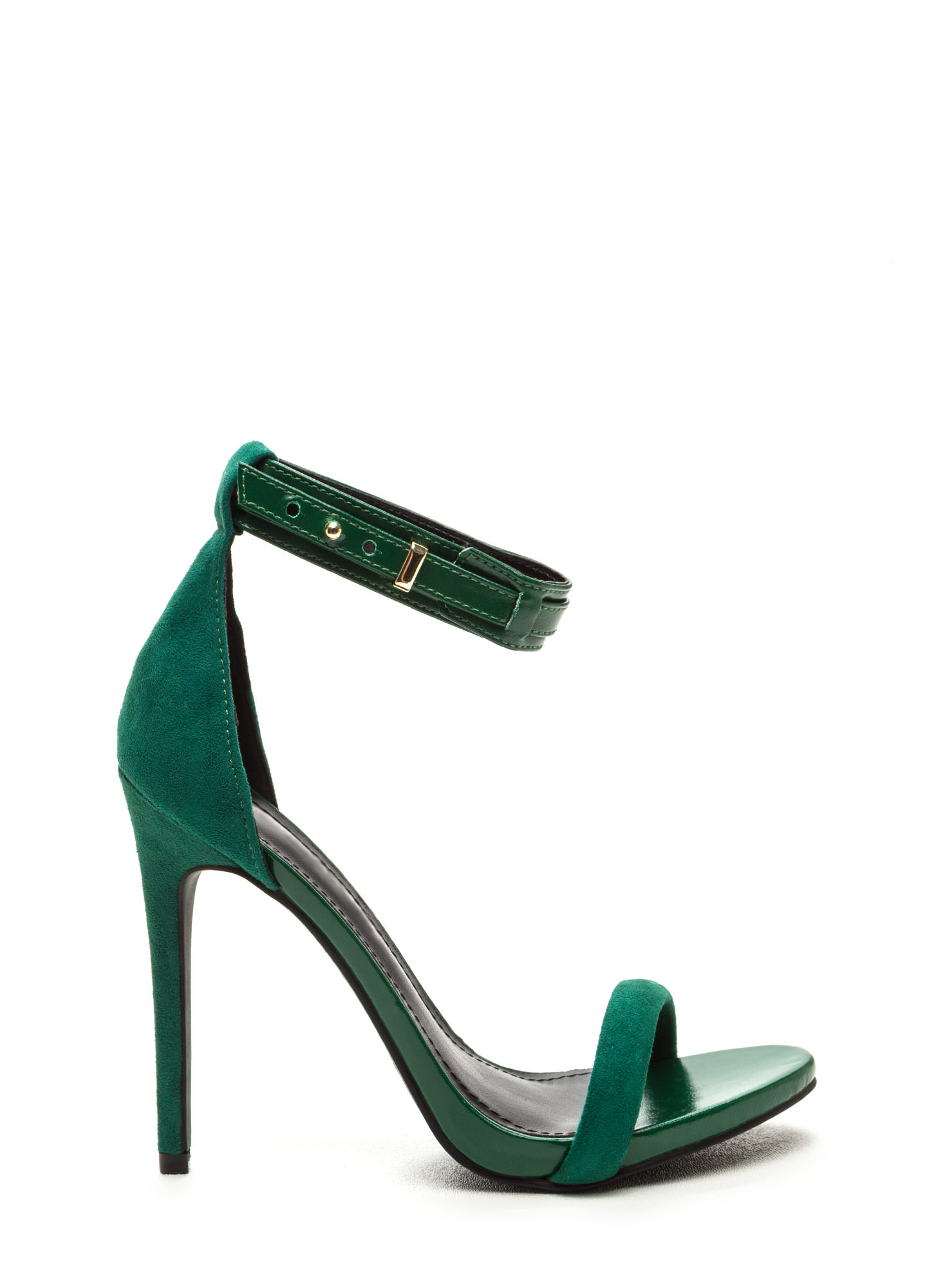 Strap Battle Mixed Stiletto Heels GREEN