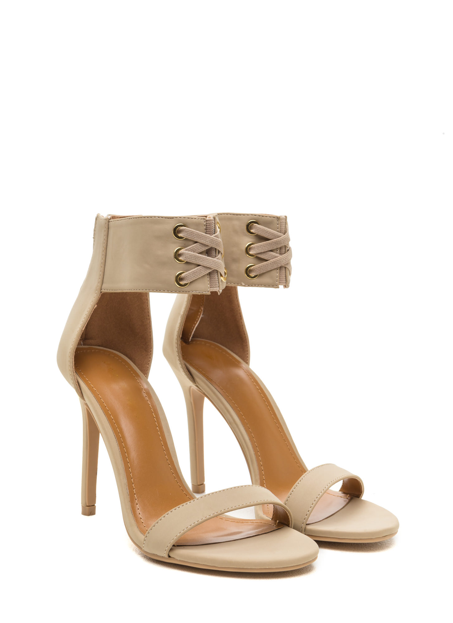 X Marks The Hot Single Strap Heels NUDE