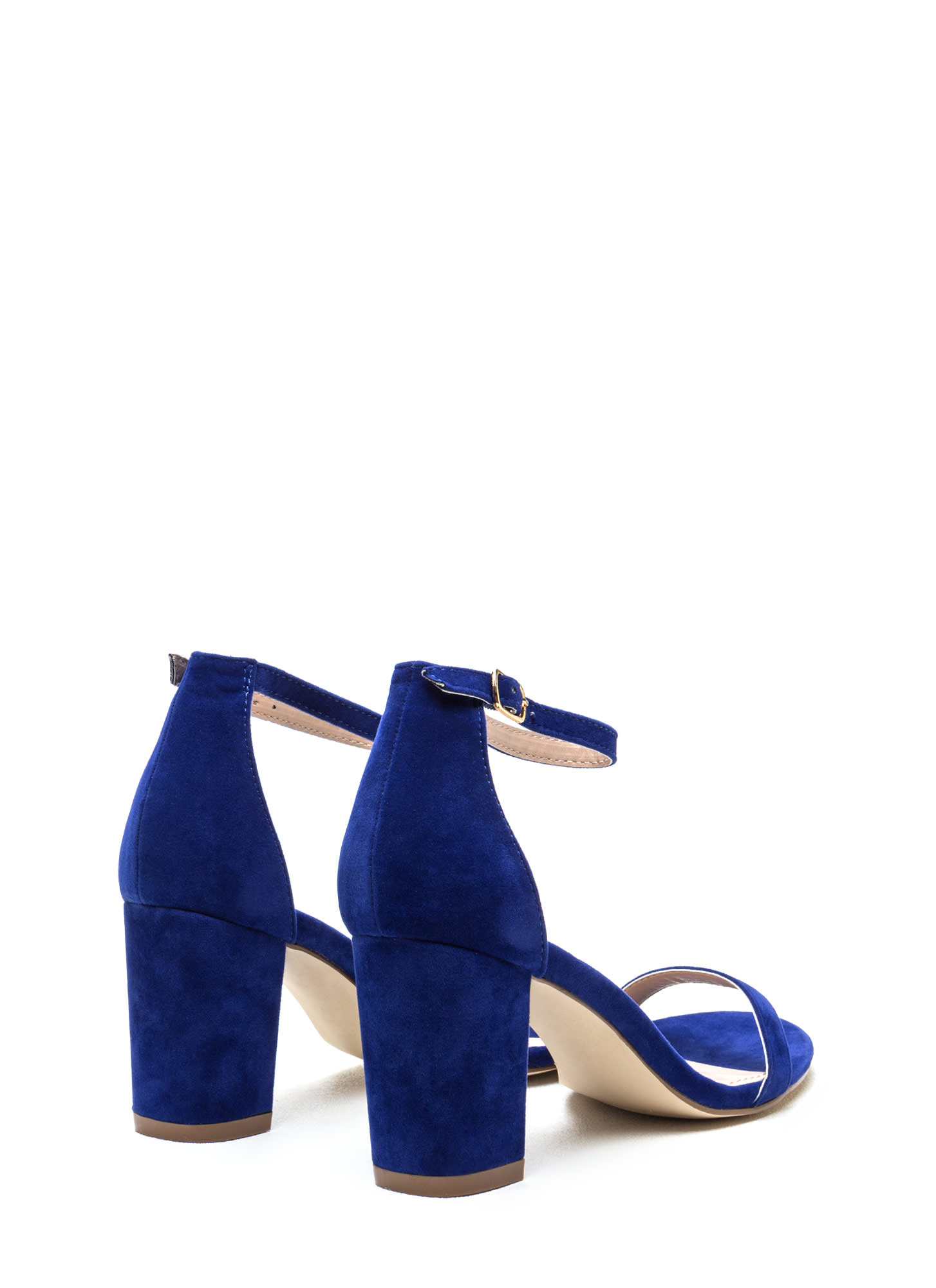Weekend Outing Faux Suede Chunky Heels BLUE