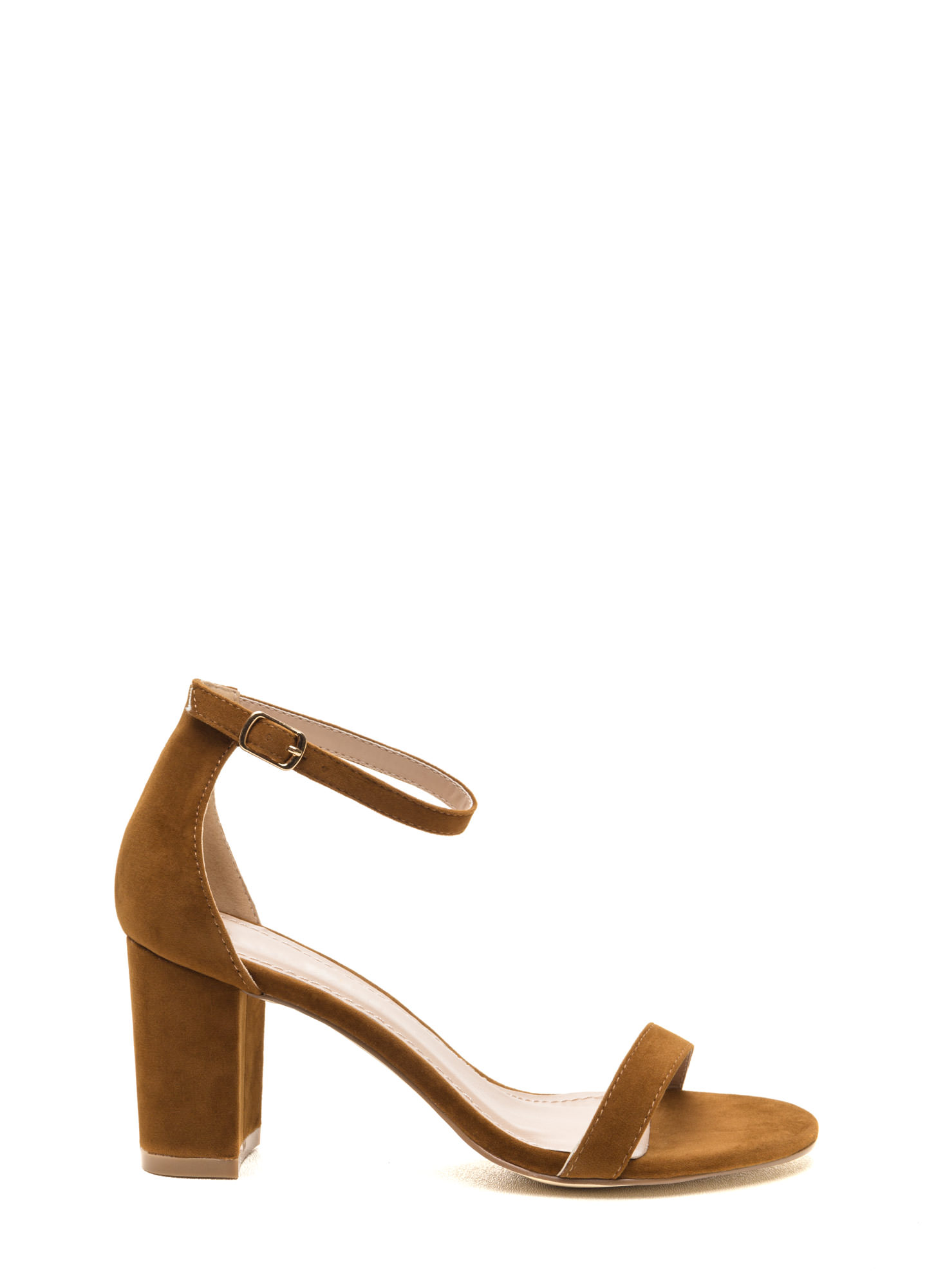 Weekend Outing Faux Suede Chunky Heels CHESTNUT