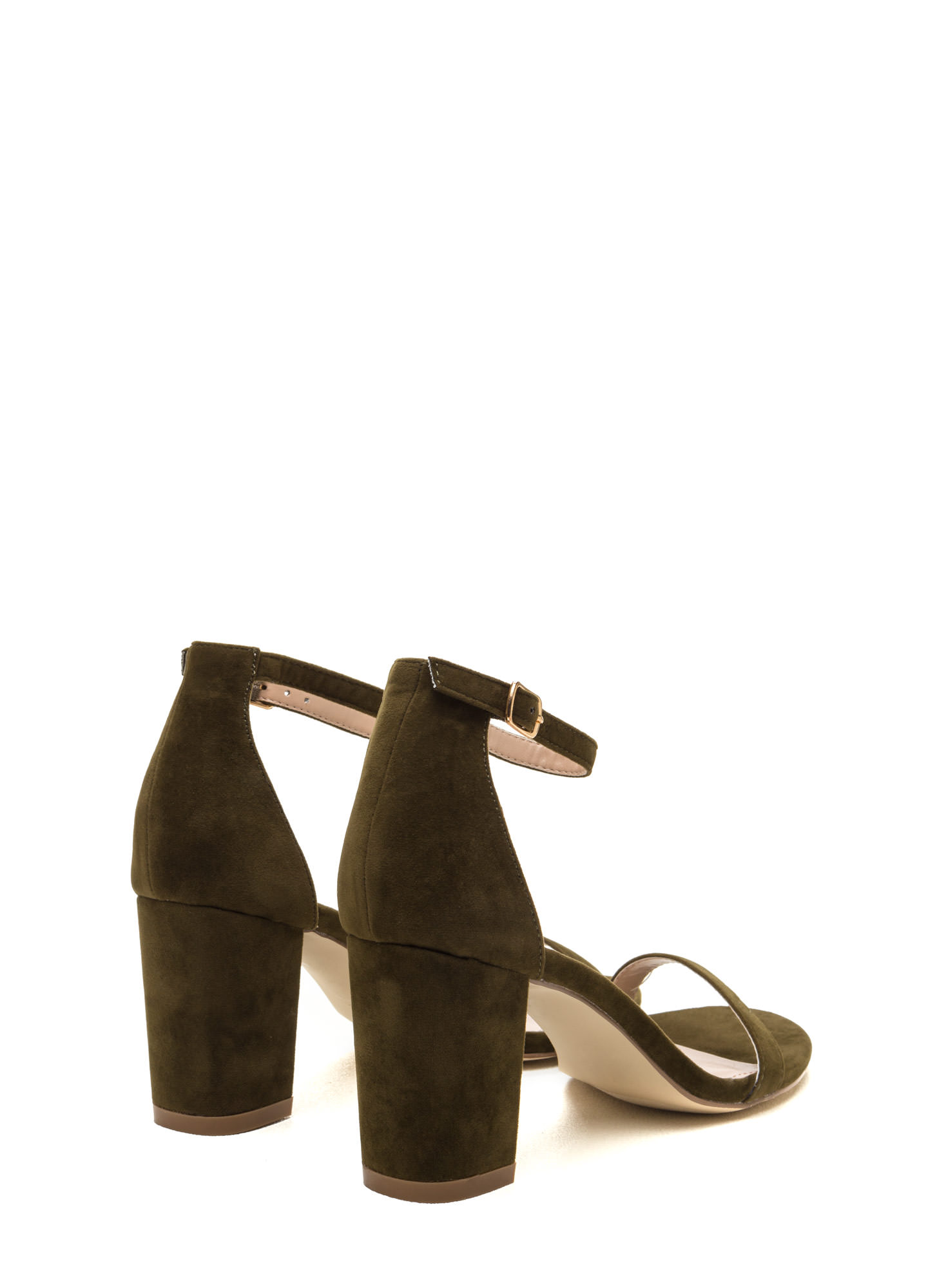 Weekend Outing Faux Suede Chunky Heels OLIVE