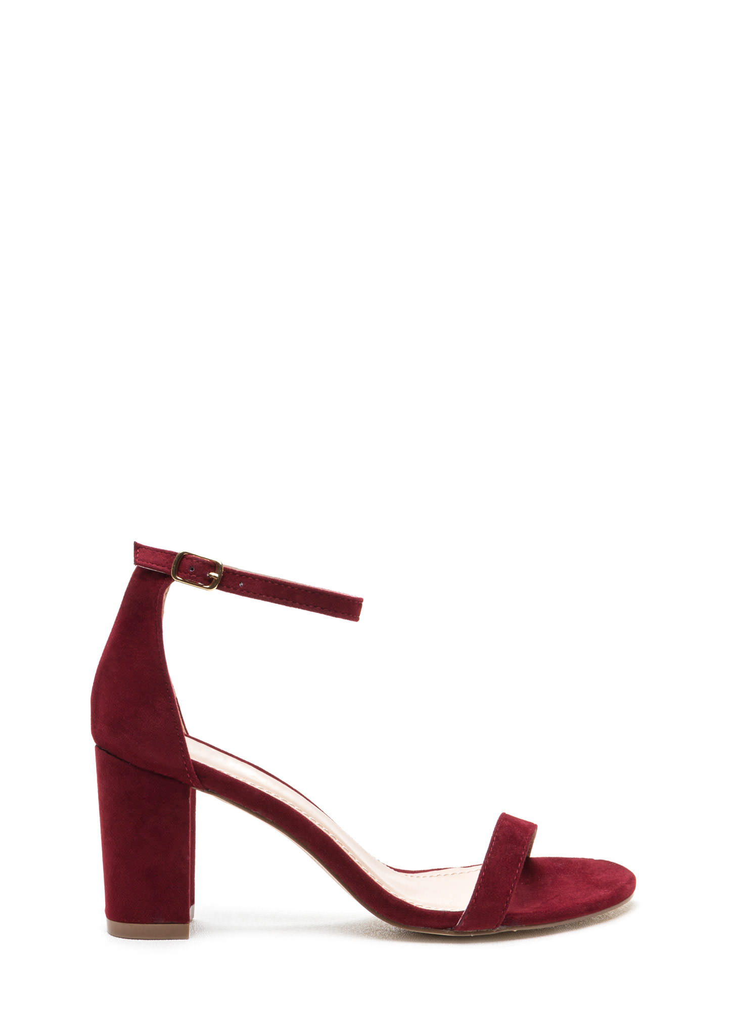 Weekend Outing Faux Suede Chunky Heels WINE
