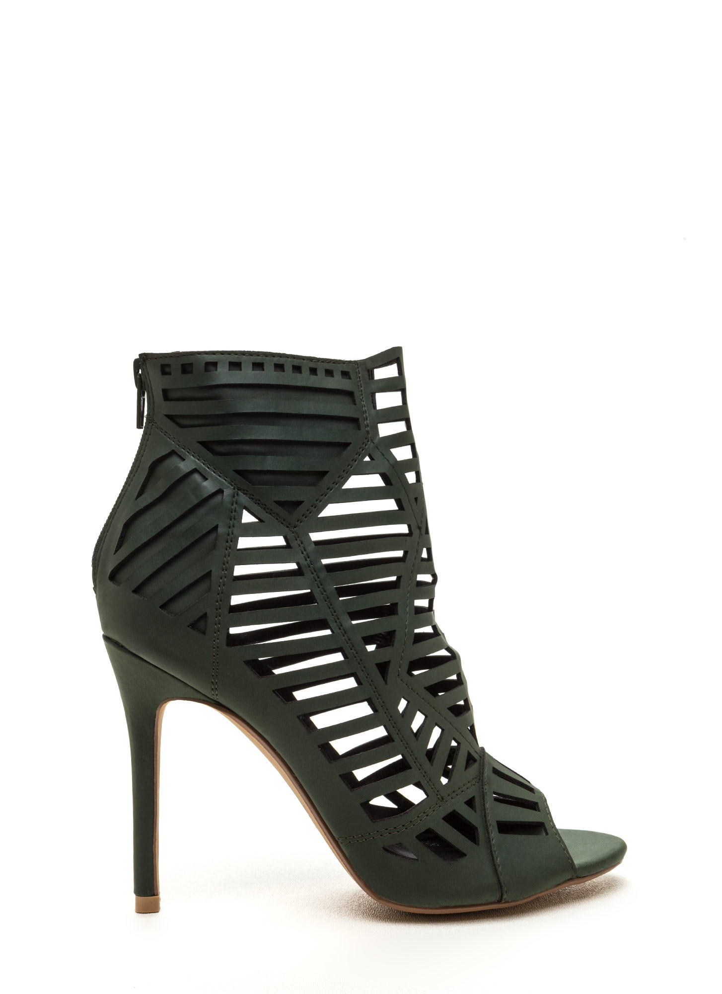 Line Dancing Cut-Out Faux Leather Heels HUNTERGREEN