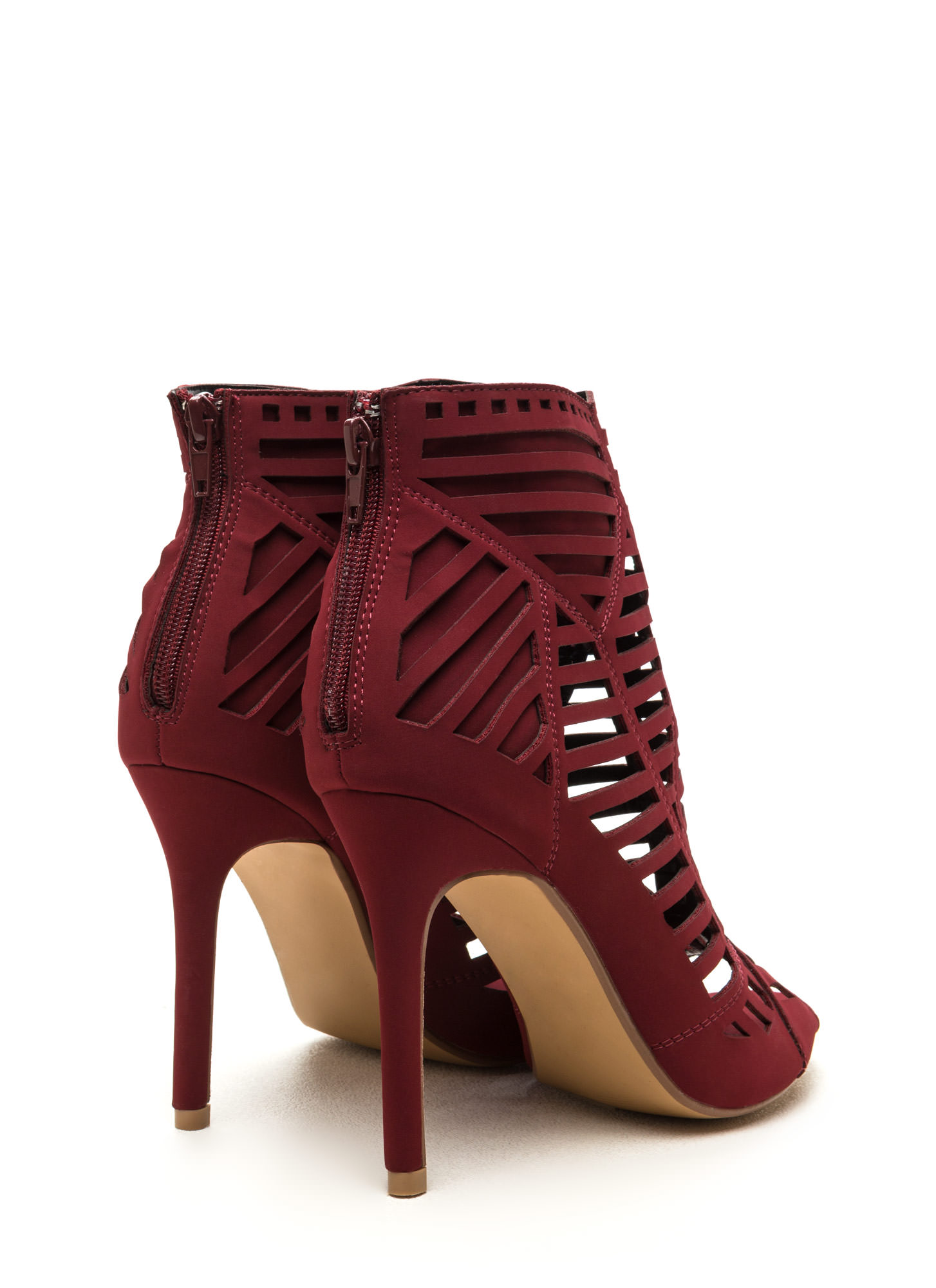 Line Dancing Cut-Out Faux Leather Heels WINE