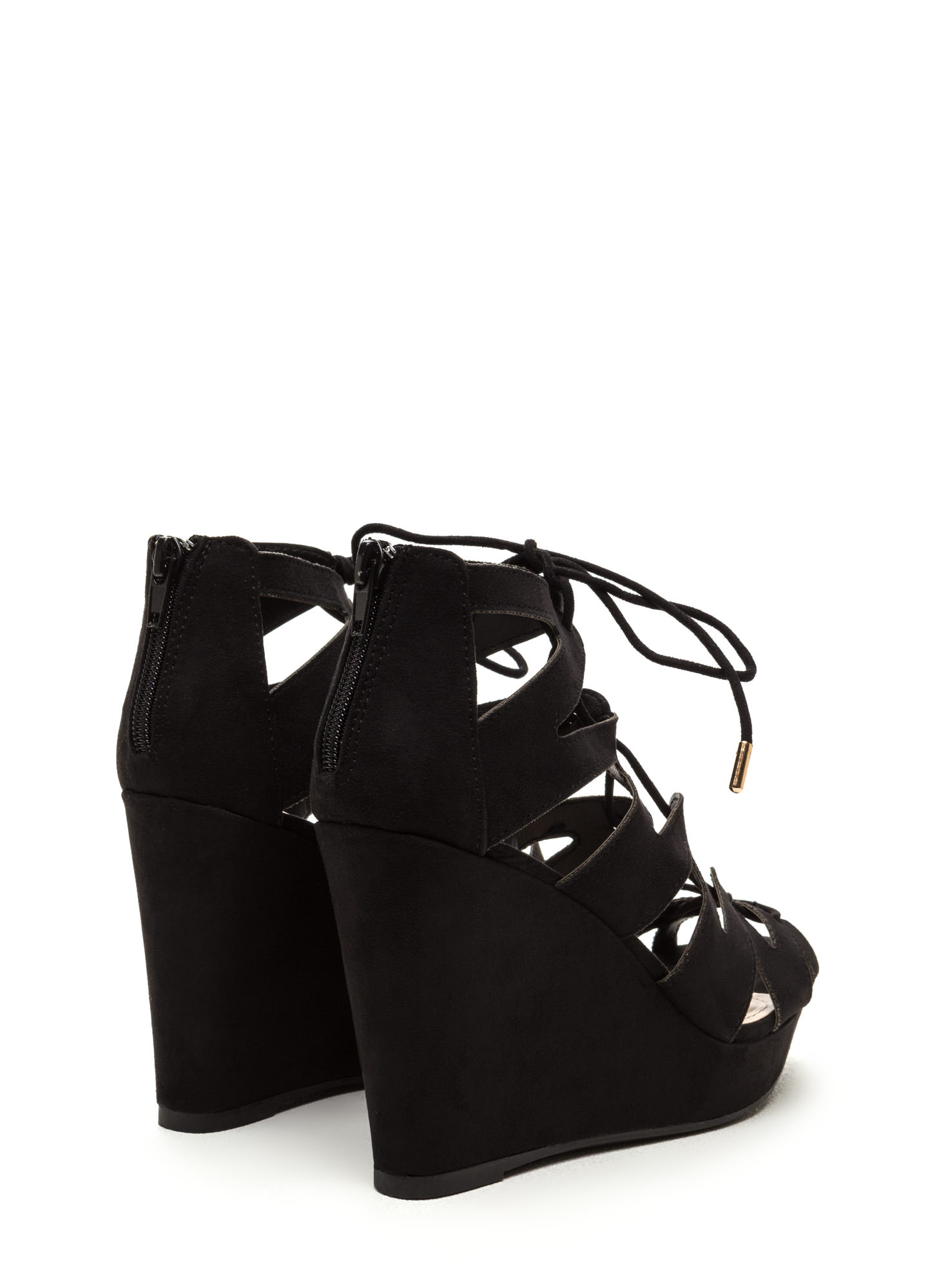 Run The World Caged Faux Suede Wedges BLACK