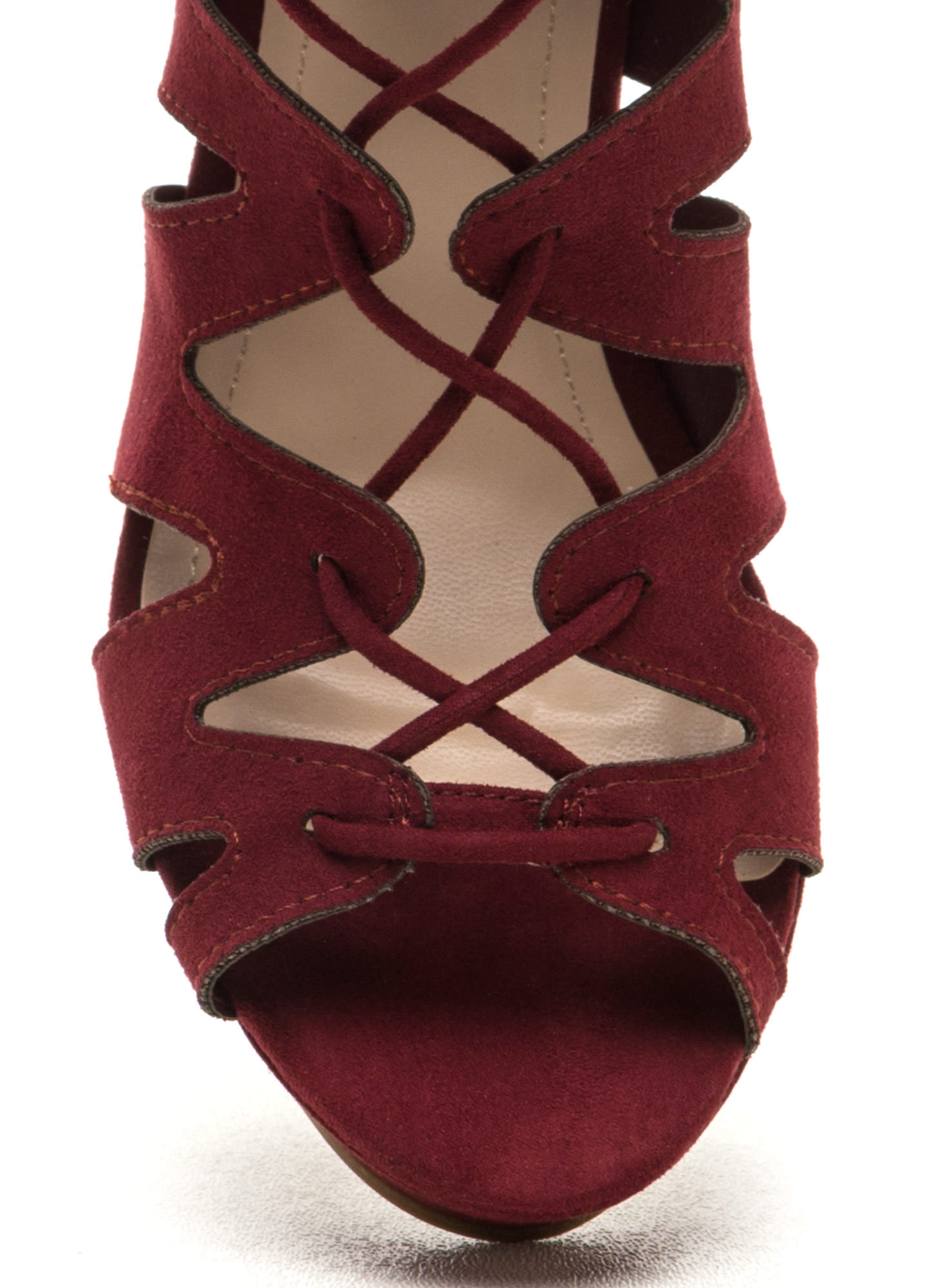 Run The World Caged Faux Suede Wedges BURGUNDY