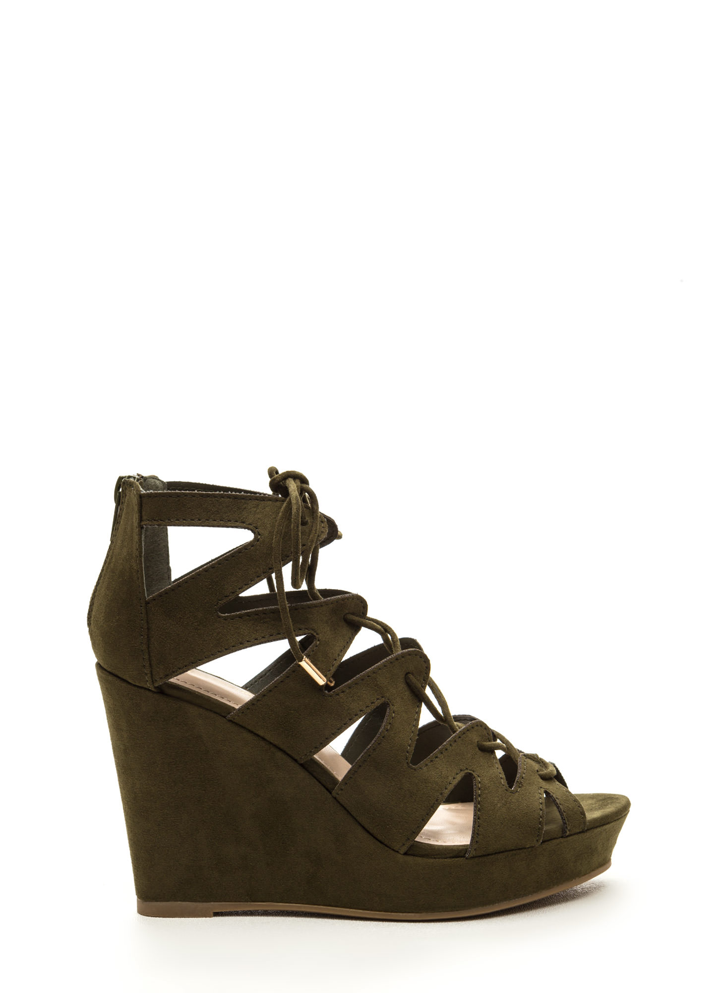 Run The World Caged Faux Suede Wedges OLIVE