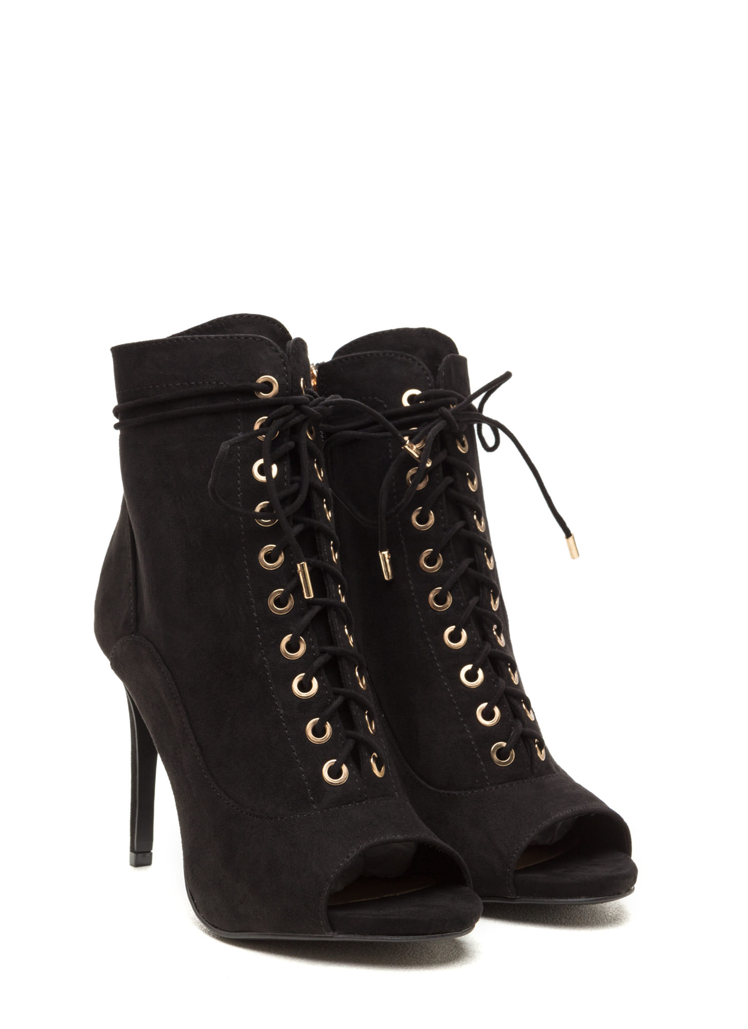 Cool And In Control Faux Suede Booties BLACK