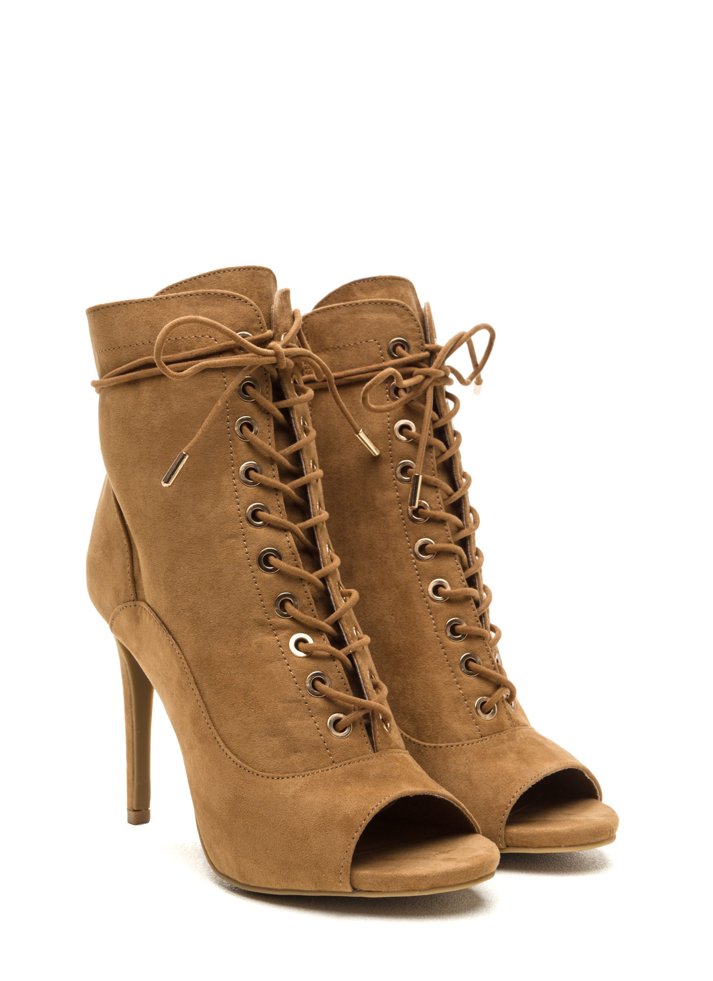 Cool And In Control Faux Suede Booties NATURAL