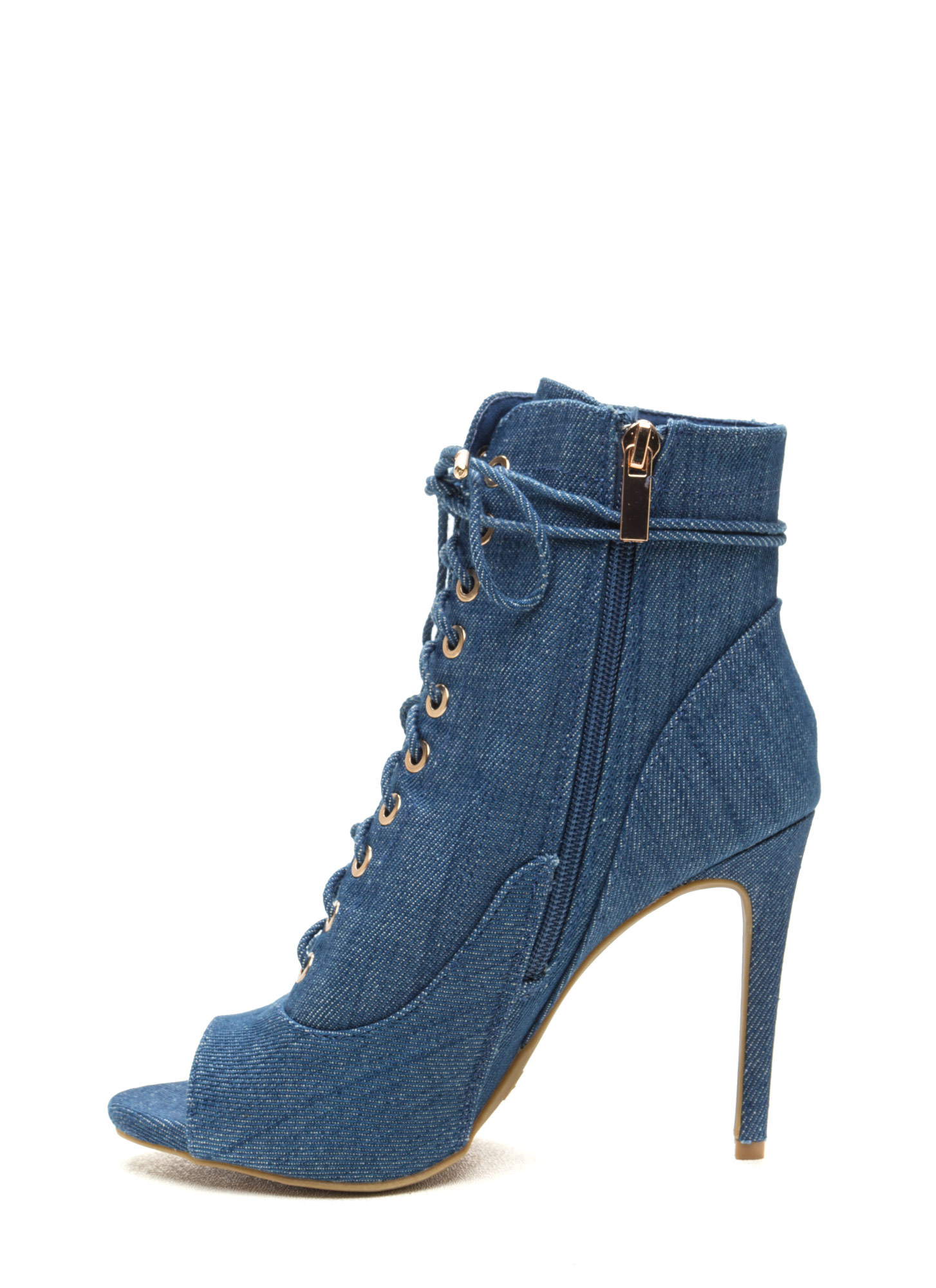 Cool And In Control Denim Booties BLUE