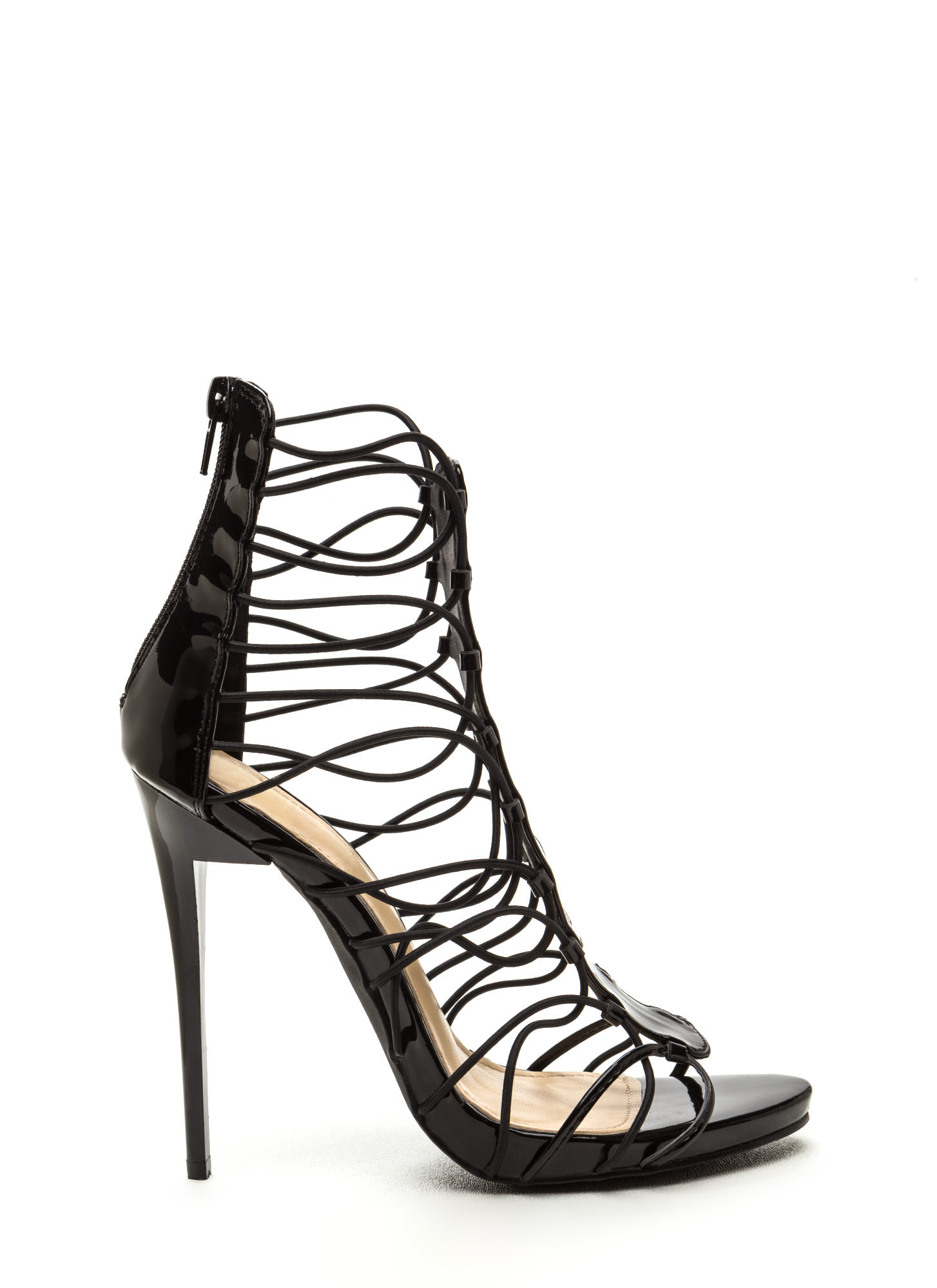 X-Off Caged Faux Leather Stiletto Heels BLACK (Final Sale)