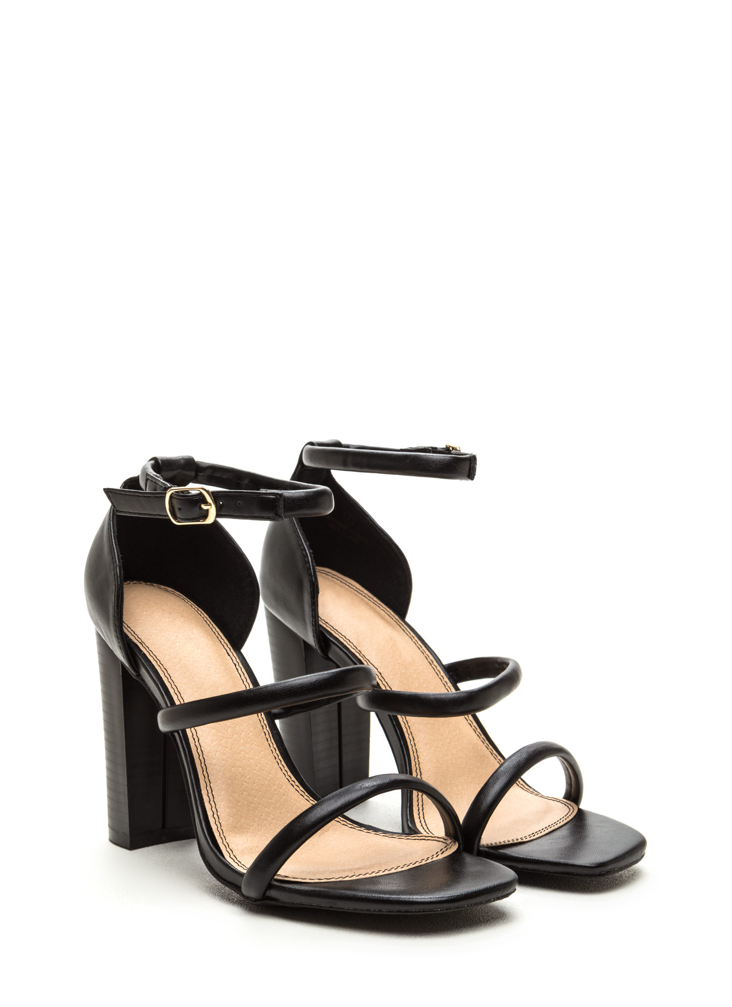 Sleek Step Triple Strap Heels BLACK