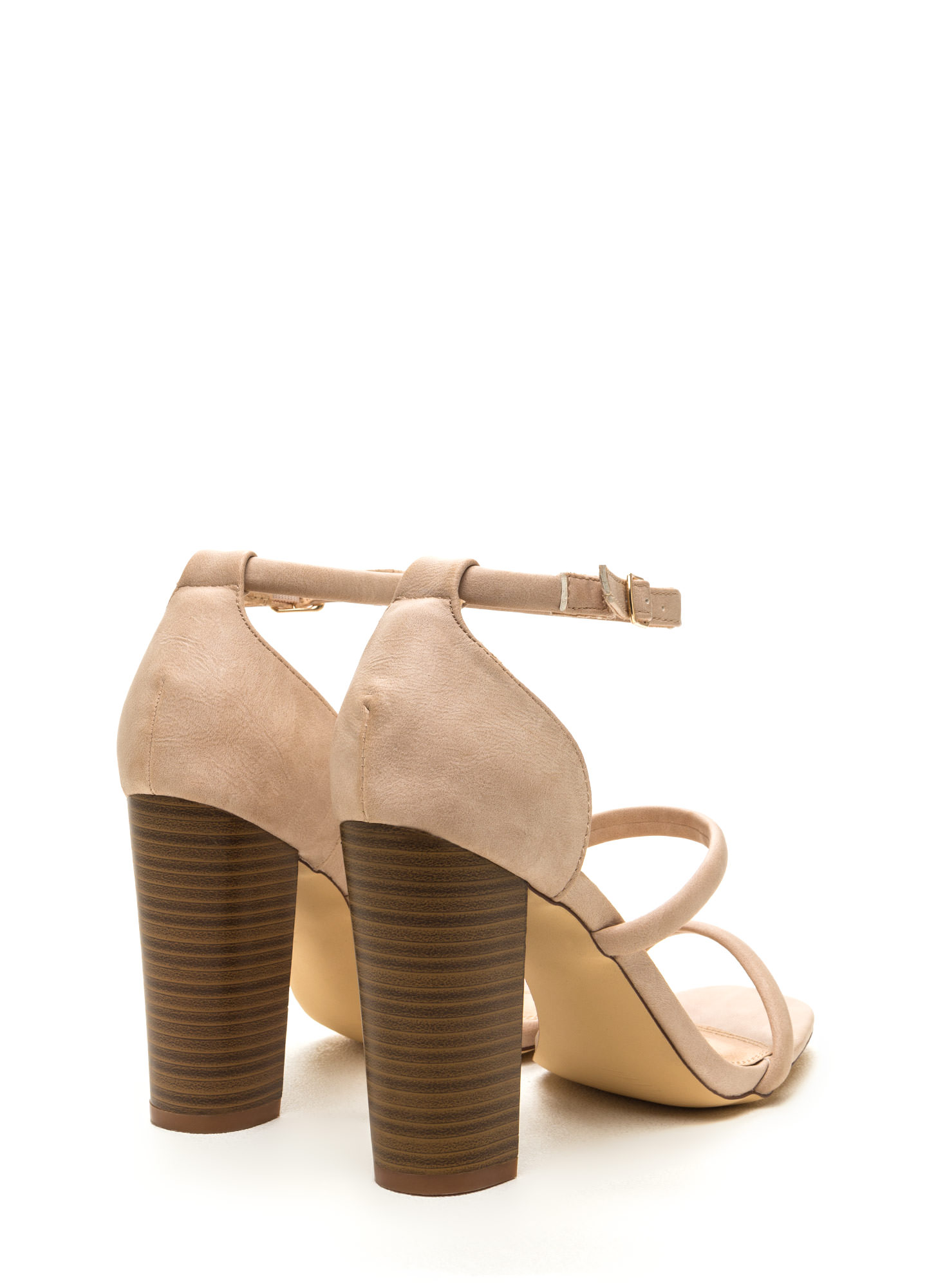 Sleek Step Triple Strap Heels NUDE