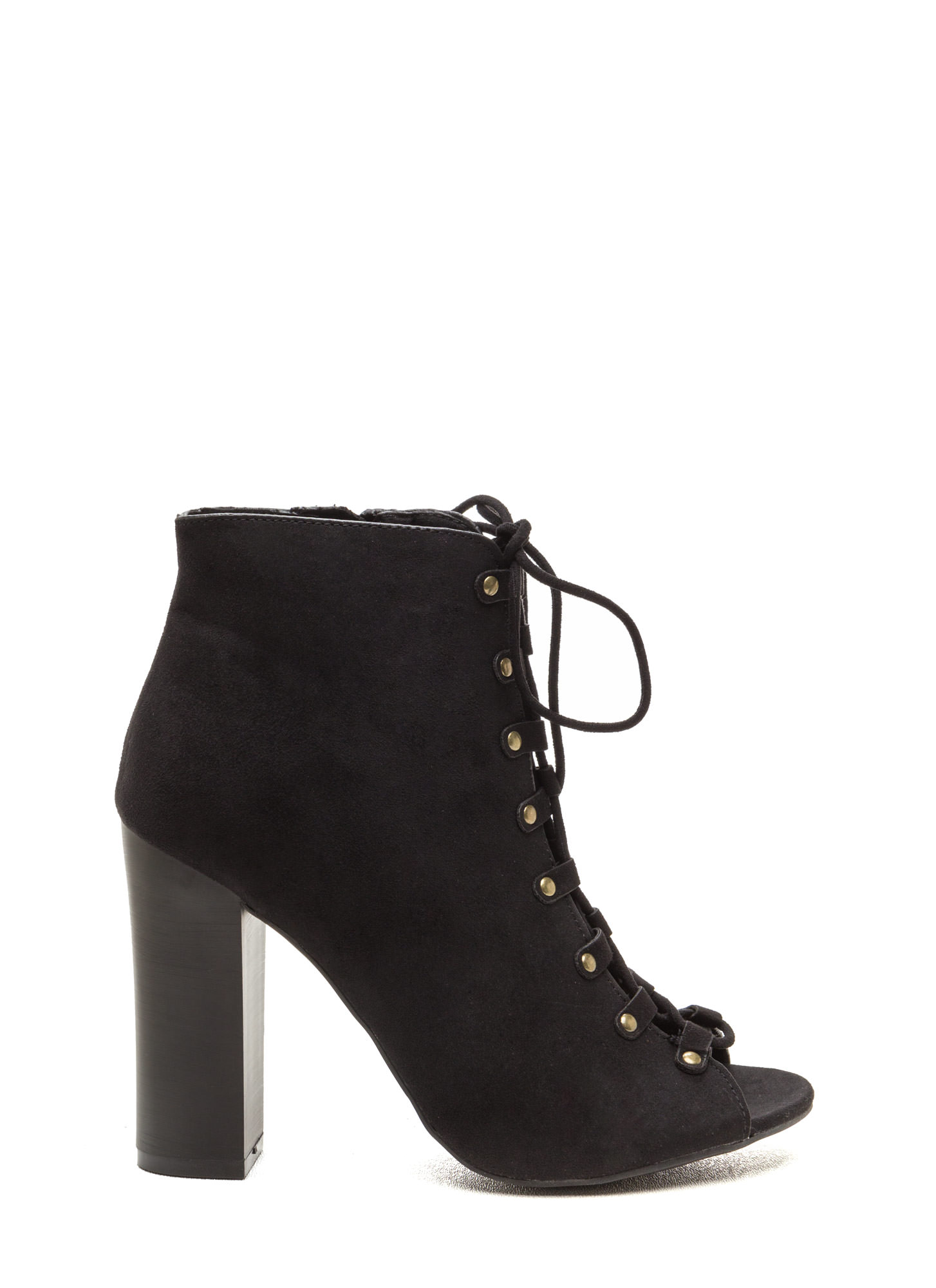 Style Blog Worthy Lace-Up Booties BLACK