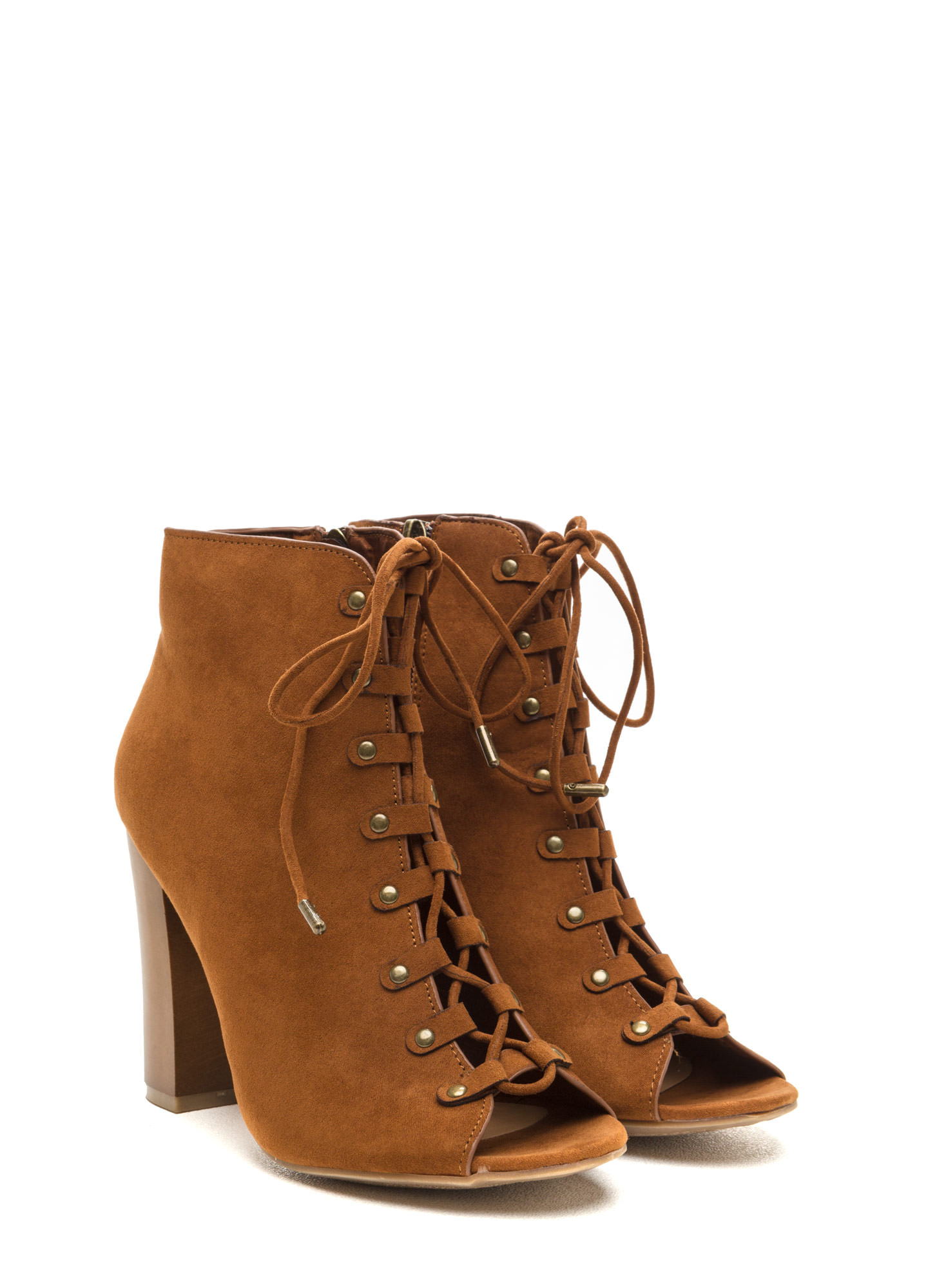 Style Blog Worthy Lace-Up Booties CHESTNUT